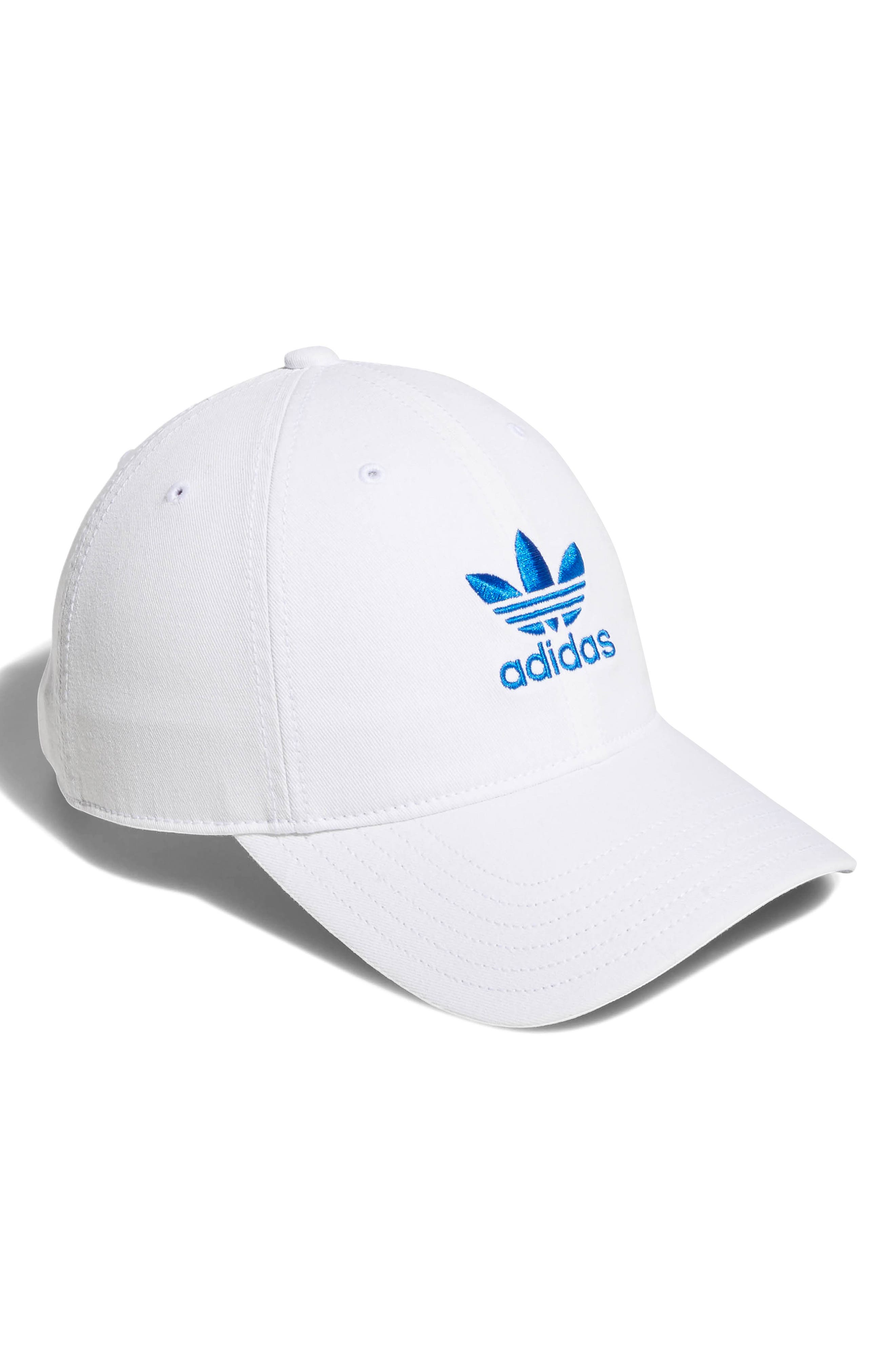Relaxed Strap-Back Cap,                         Main,                         color, White/ Bluebird