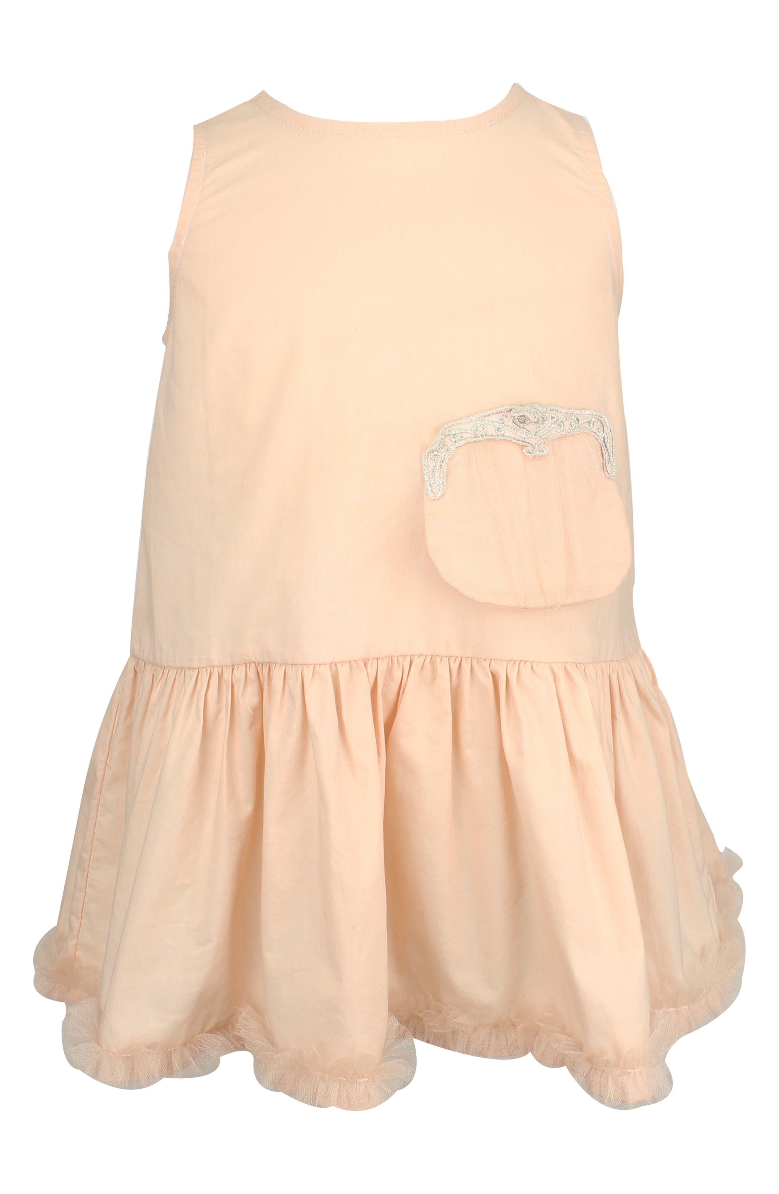 Sleeveless Dress & Clutch Set,                         Main,                         color, Peach