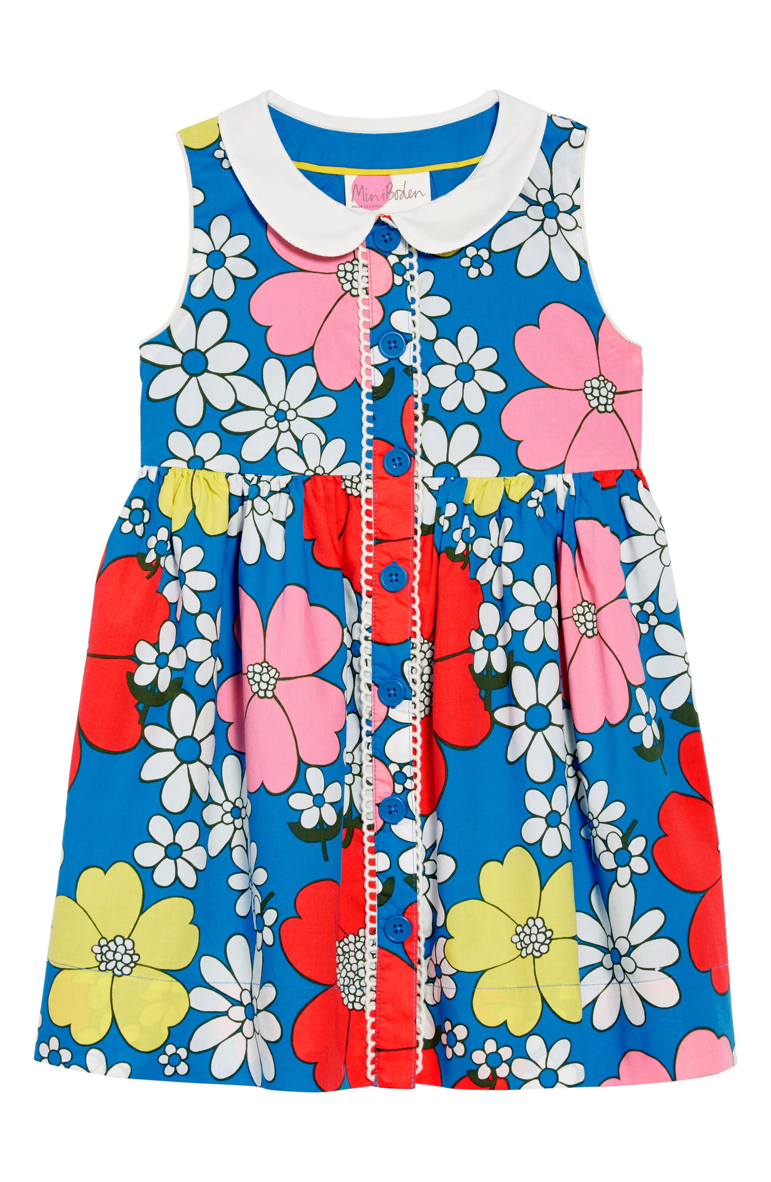 Floral Collared Dress,                             Main thumbnail 1, color,                             Blufluro Blue Flower Power