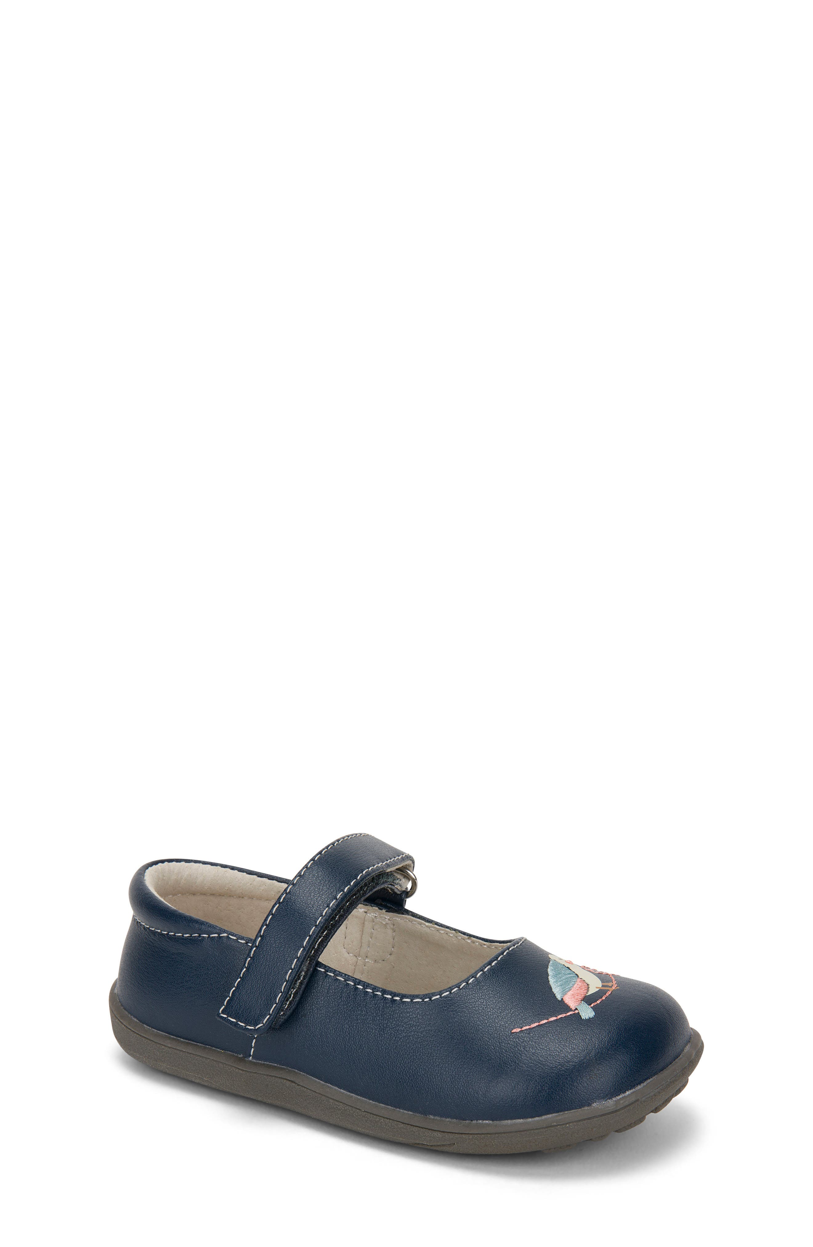 Ava Mary Jane Flat,                         Main,                         color, Navy Leather