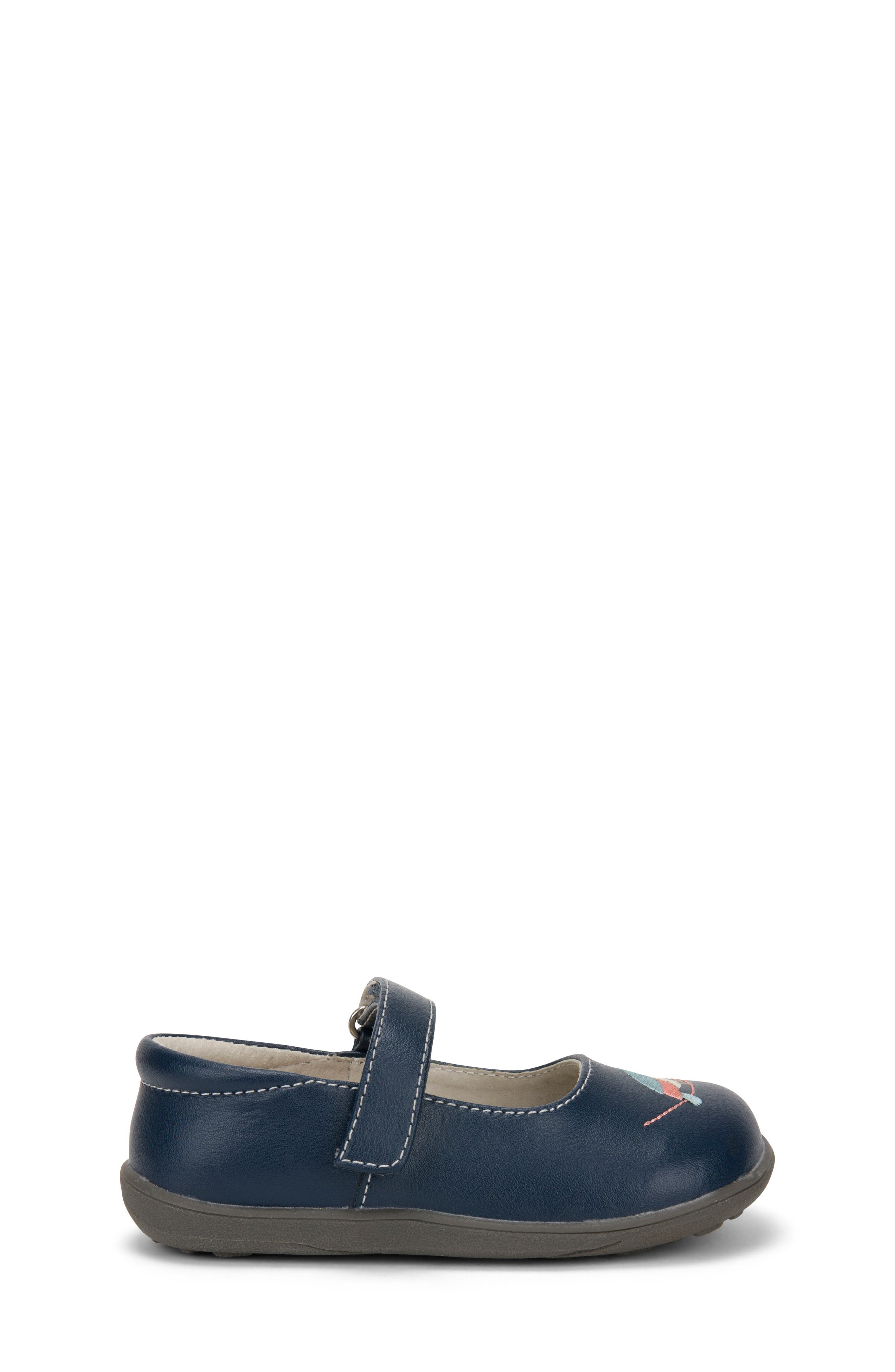 Ava Mary Jane Flat,                             Alternate thumbnail 4, color,                             Navy Leather