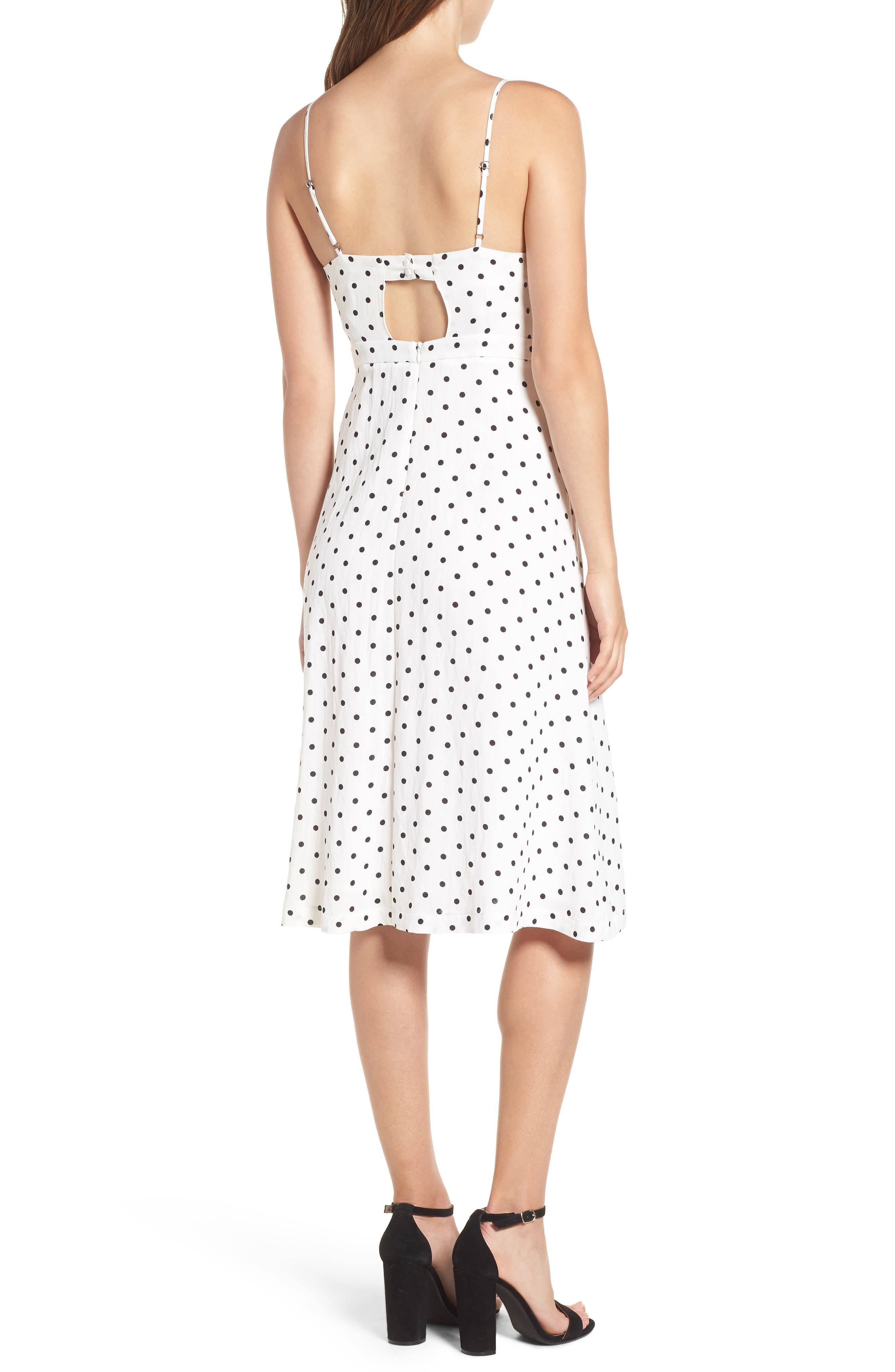 Stripe Tie Front Midi Dress,                             Alternate thumbnail 2, color,                             White Polka Dot