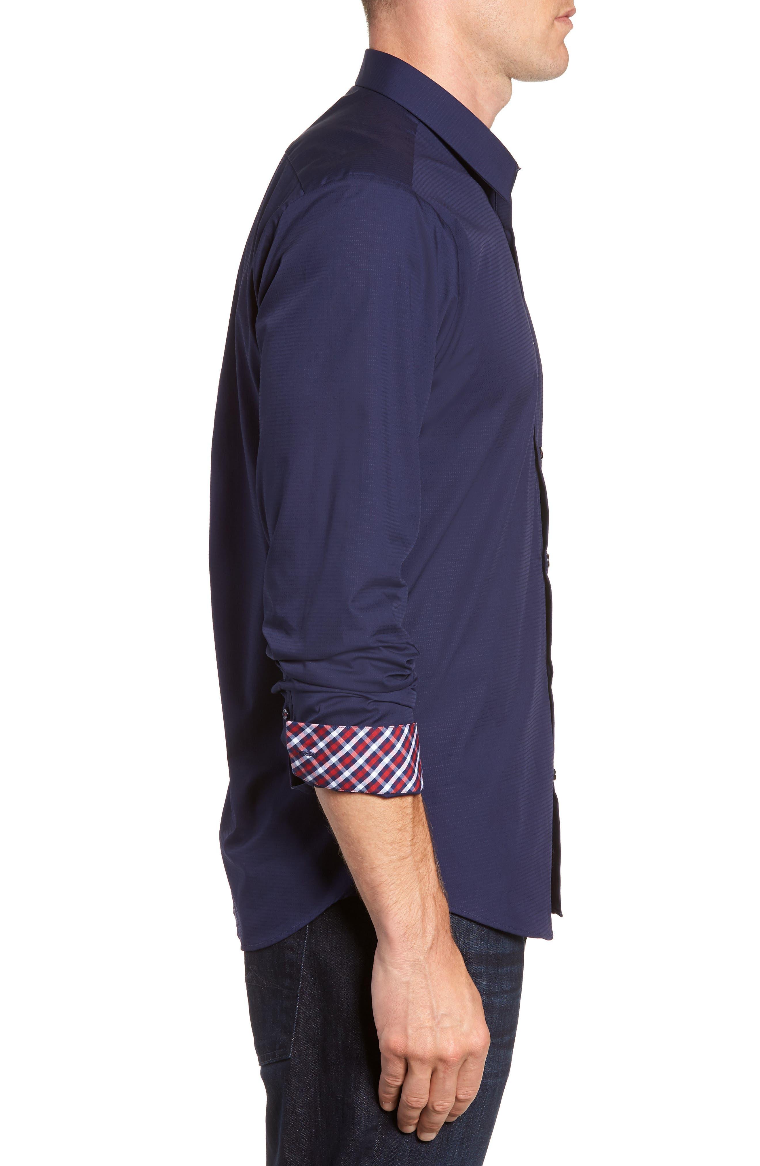 Trim Fit Sport Shirt,                             Alternate thumbnail 4, color,                             Navy Blue