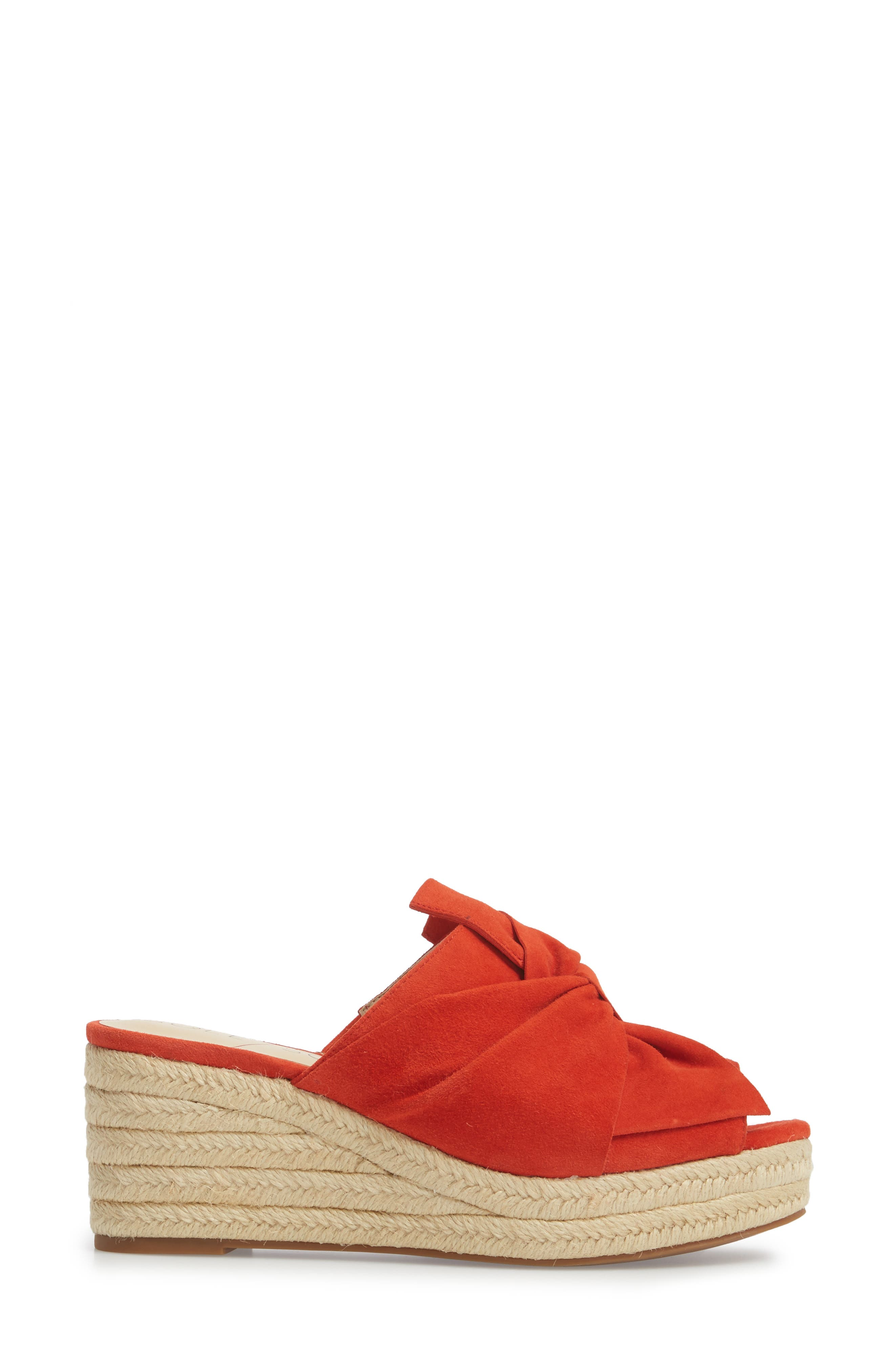 Carima Espadrille Wedge,                             Alternate thumbnail 3, color,                             Bright Coral Suede