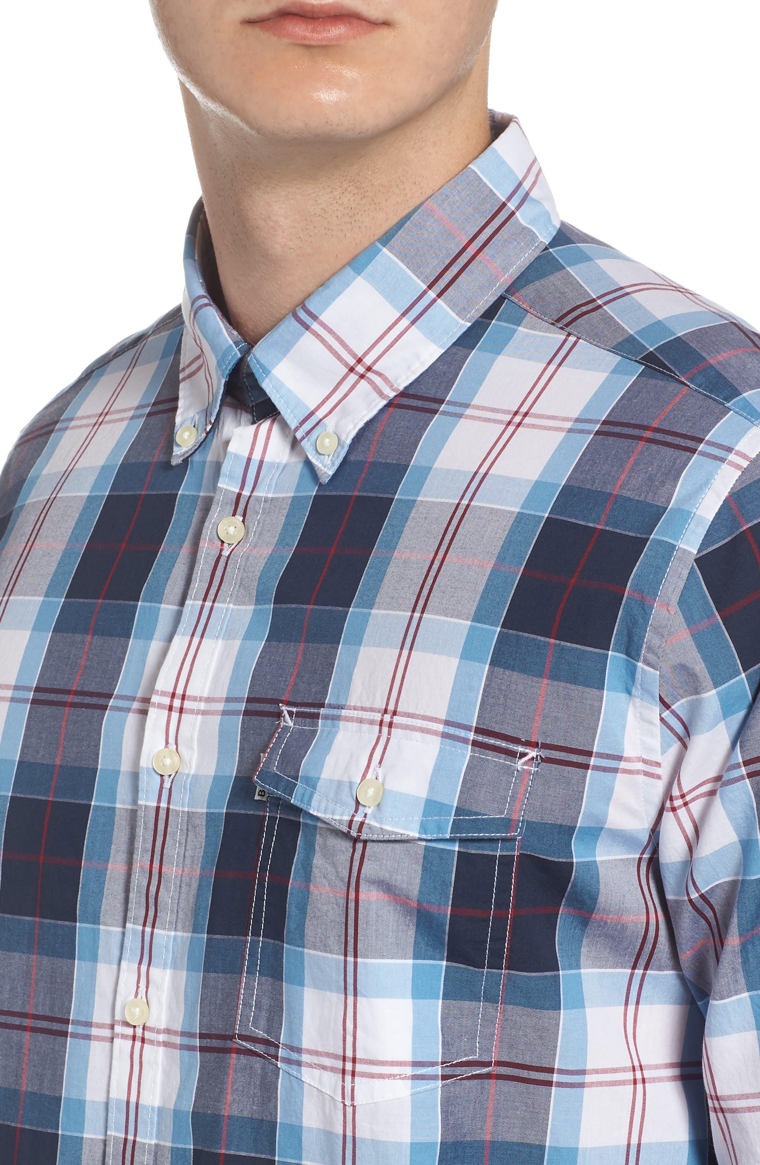 Cabin Tailored Fit Plaid Sport Shirt,                             Alternate thumbnail 2, color,                             Mid Blue