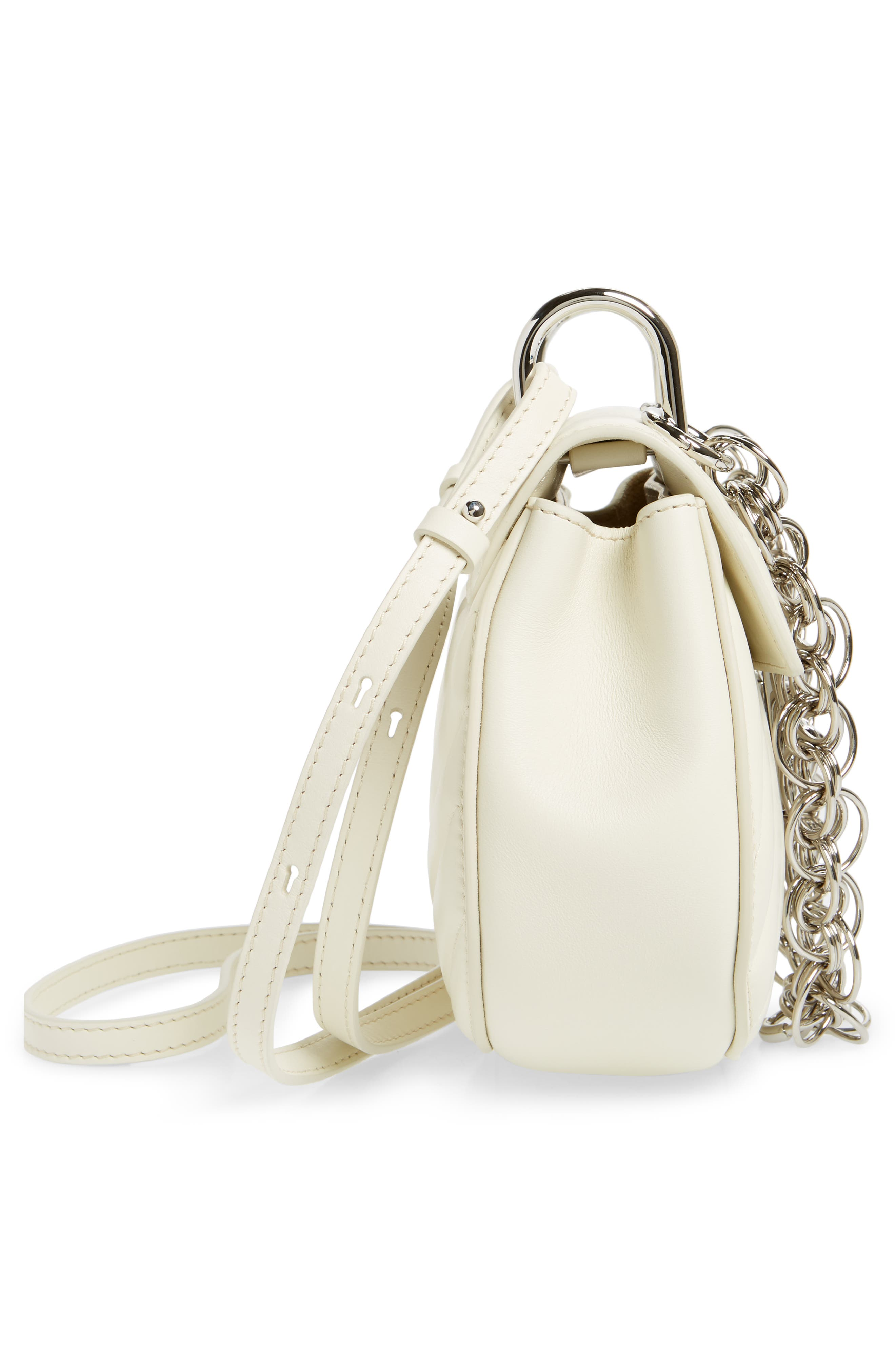 Mini Drew Bijoux Leather Shoulder Bag,                             Alternate thumbnail 7, color,                             Natural White