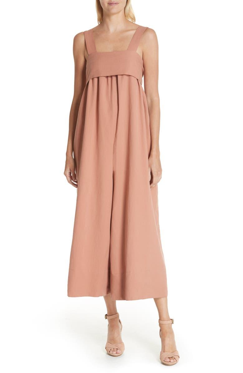 Iggy Linen  Cotton Blend Wide Leg Crop Jumpsuit