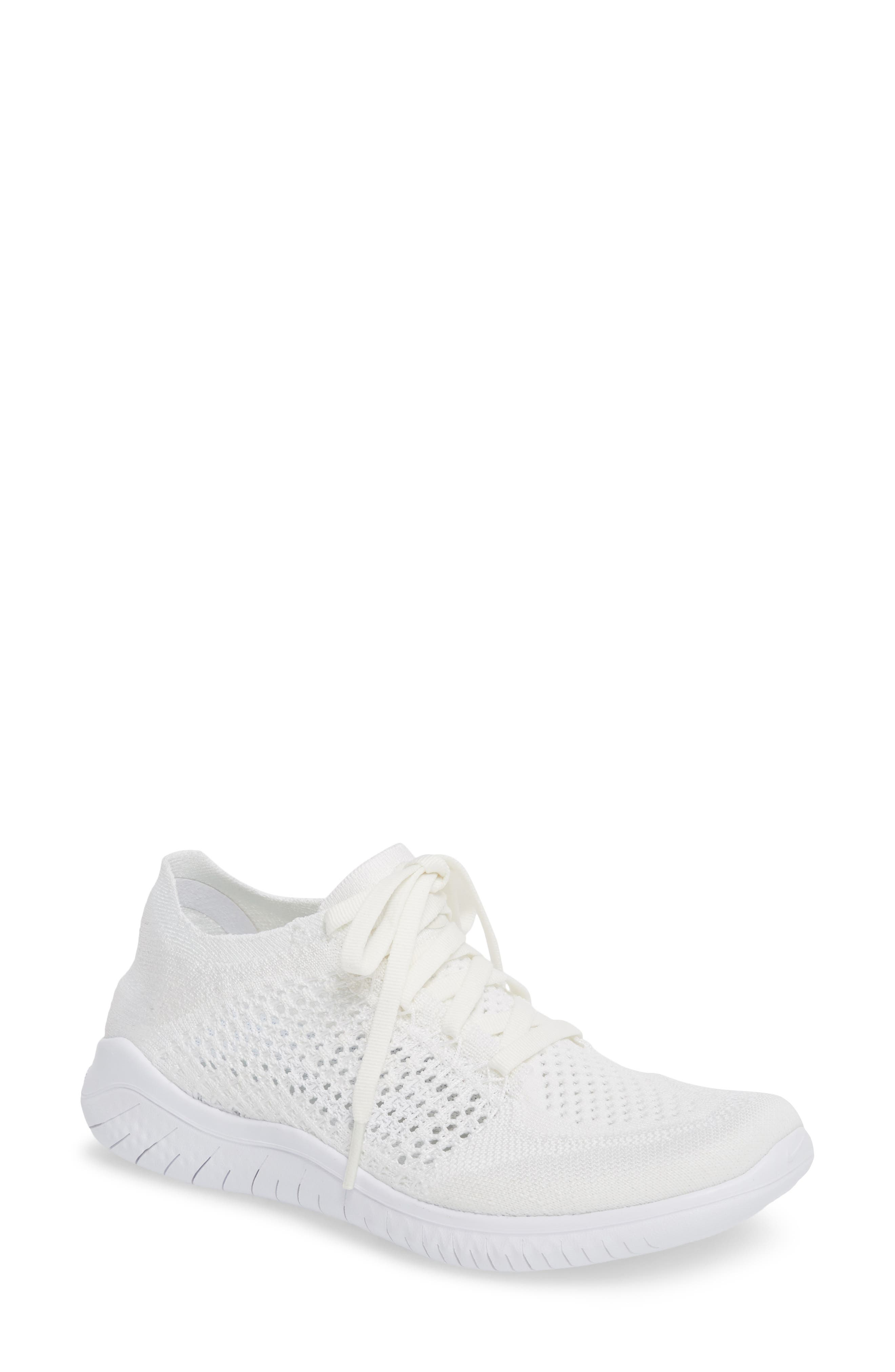 Free RN Flyknit 2018 Running Shoe,                             Main thumbnail 1, color,                             White/ White