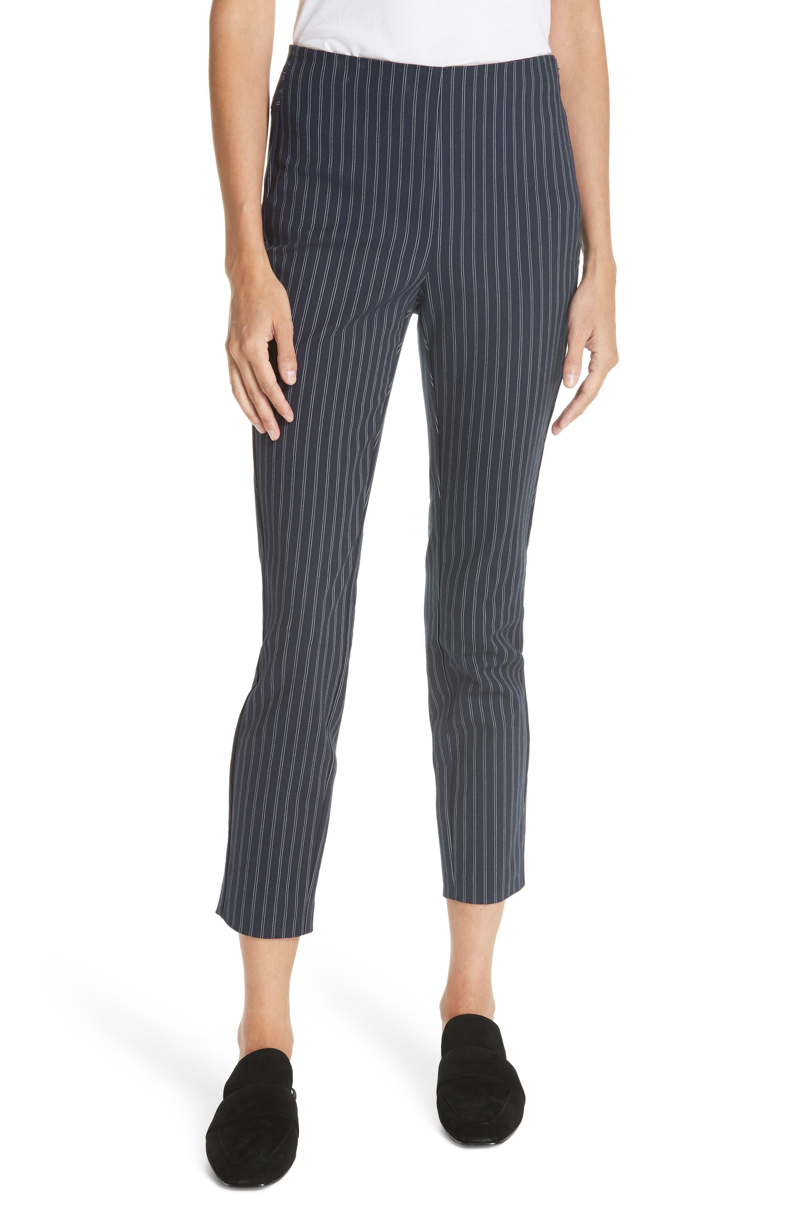 Simone Pinstripe Pants,                         Main,                         color, Navy/ White