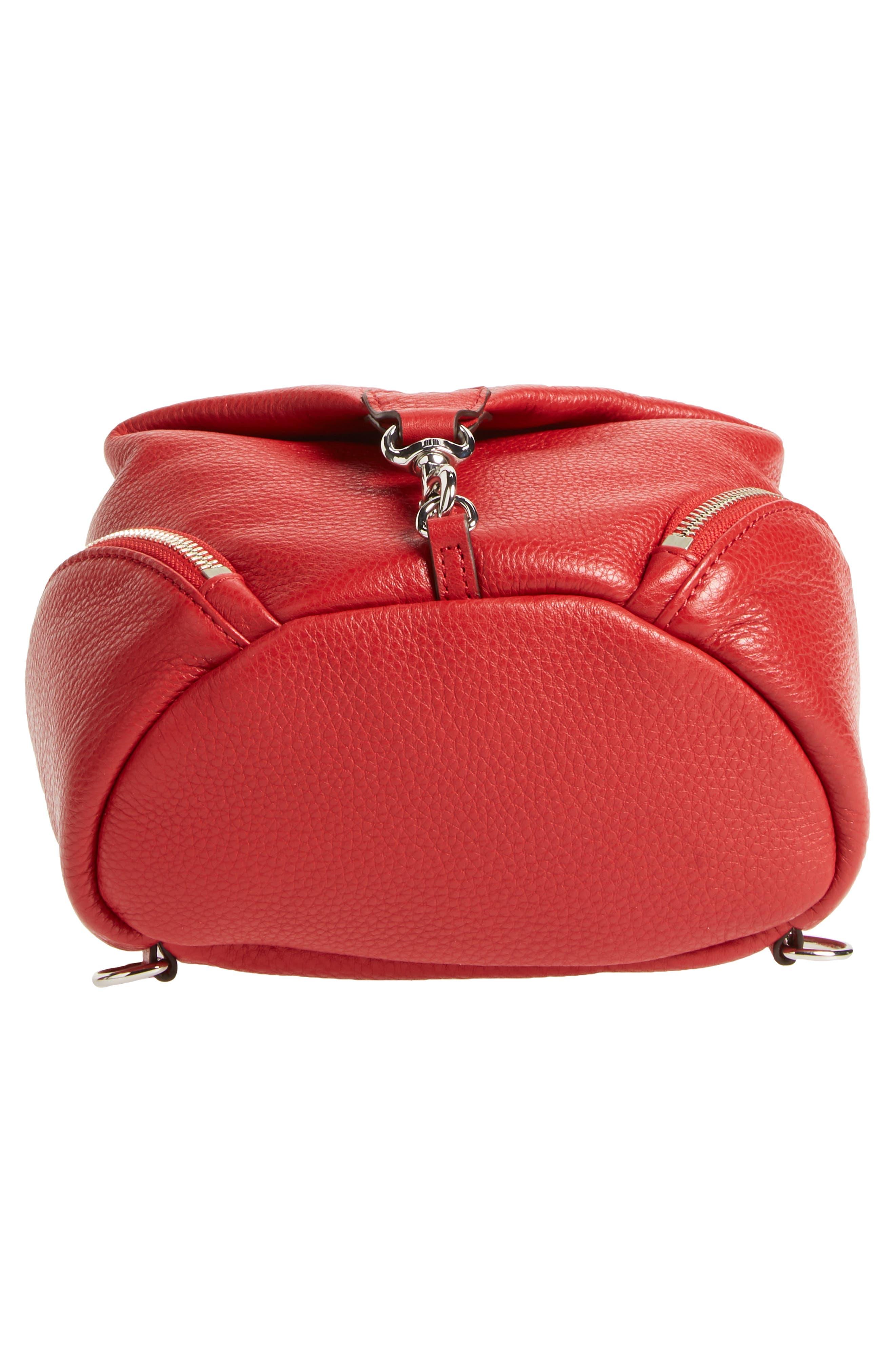Mini Julian Nubuck Leather Convertible Backpack,                             Alternate thumbnail 5, color,                             Scarlet