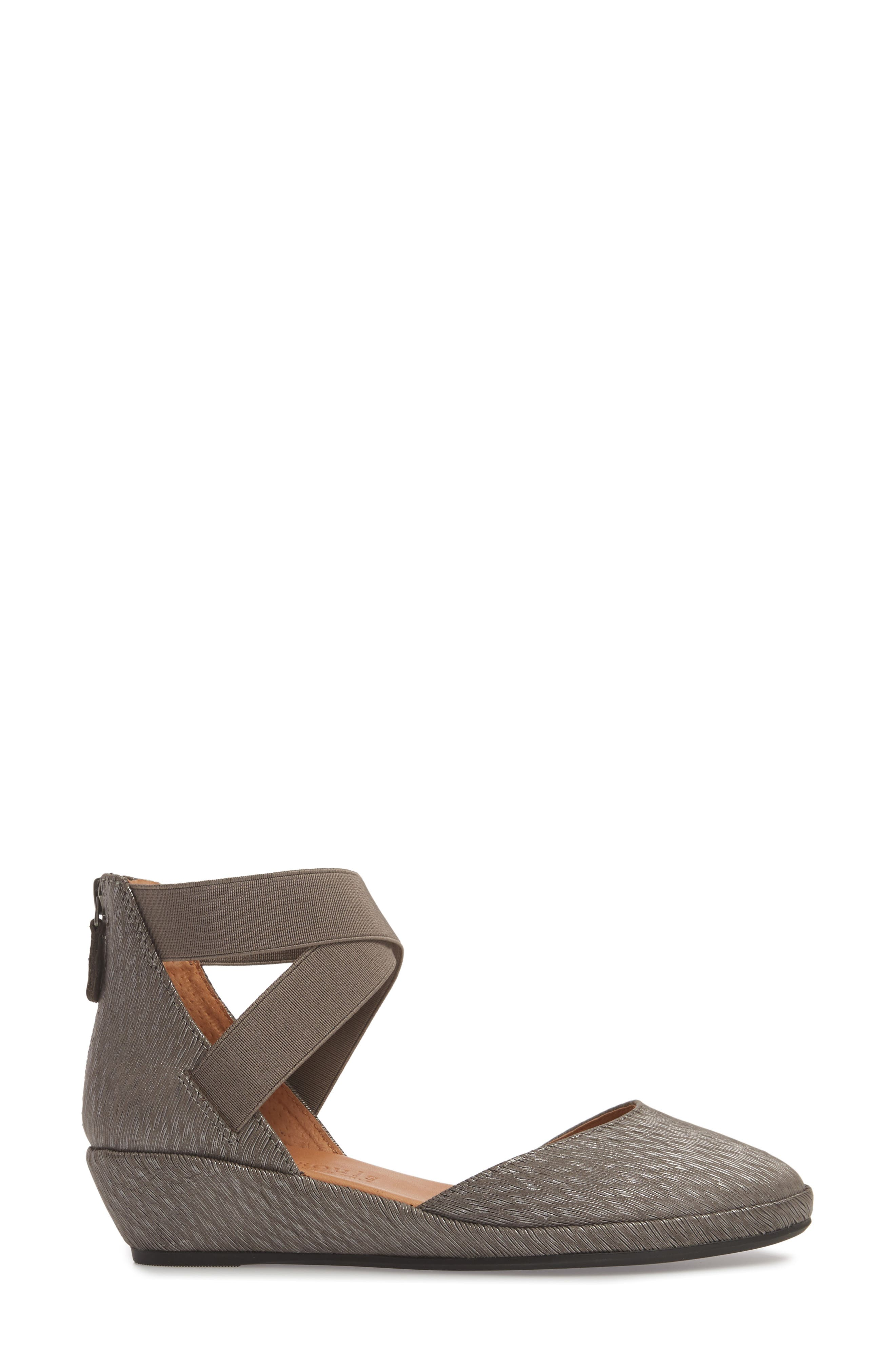 by Kenneth Cole 'Noa' Elastic Strap d'Orsay Sandal,                             Alternate thumbnail 3, color,                             Ash Embossed Leather