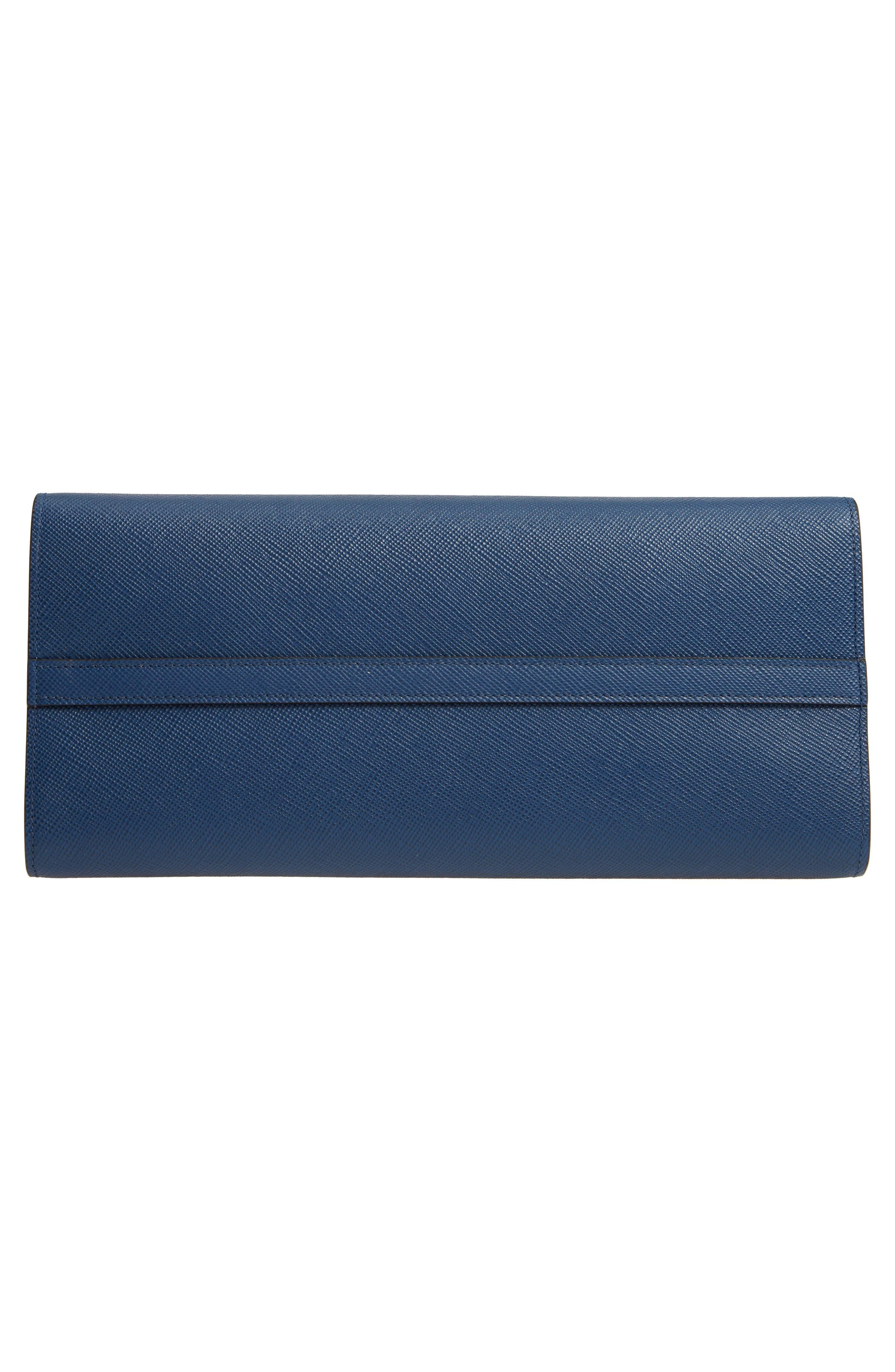 Large Monochrome Saffiano Tote,                             Alternate thumbnail 4, color,                             Bluette