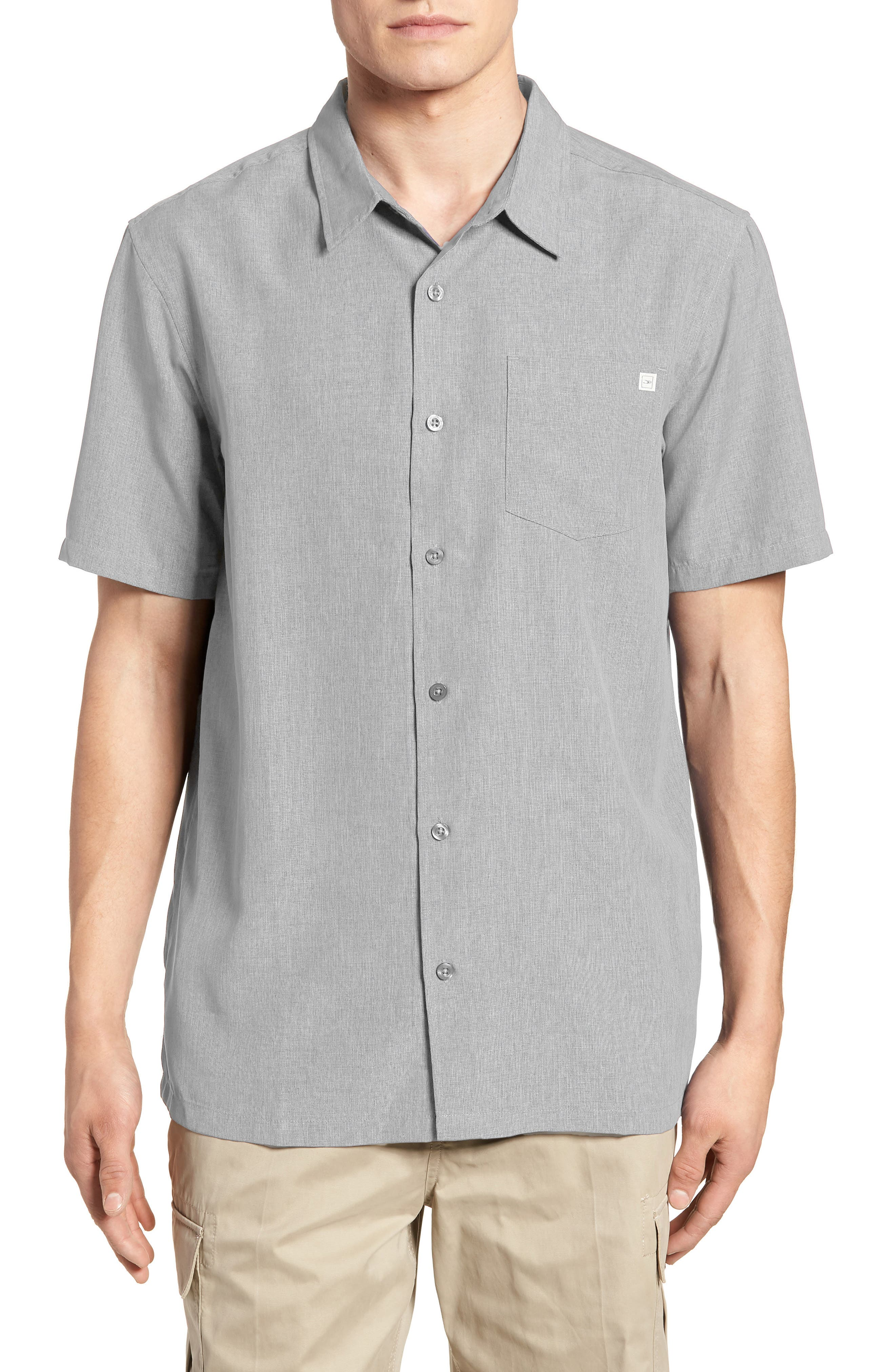 Liberty Regular Fit Short Sleeve Sport Shirt,                             Main thumbnail 1, color,                             Light Grey