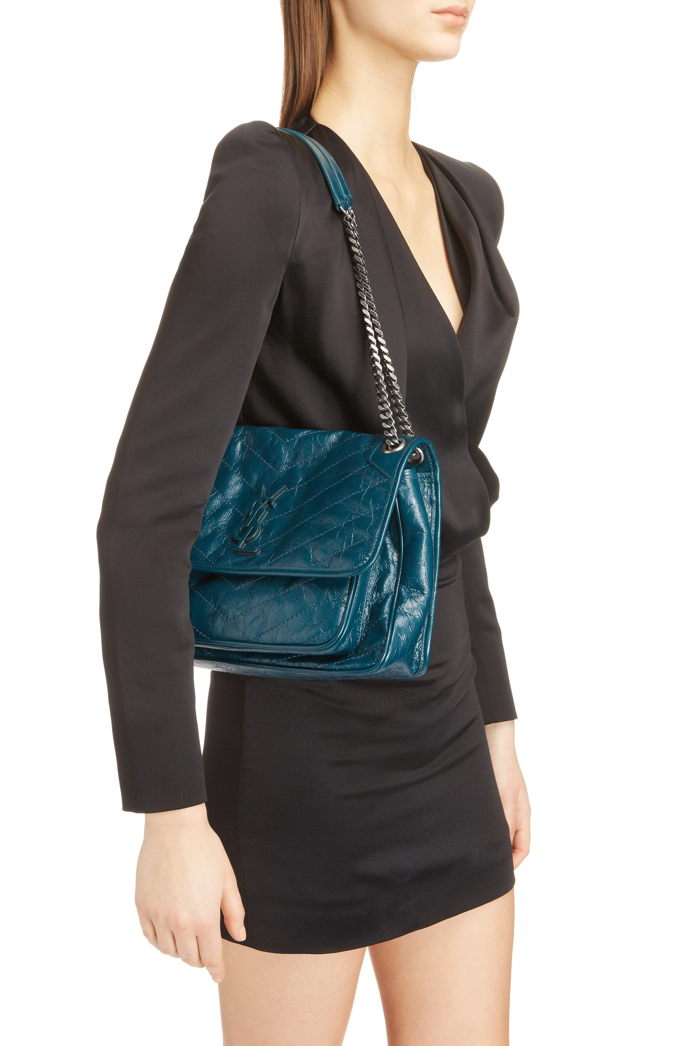 Medium Niki Leather Shoulder Bag,                             Alternate thumbnail 2, color,                             Dark Turquoise