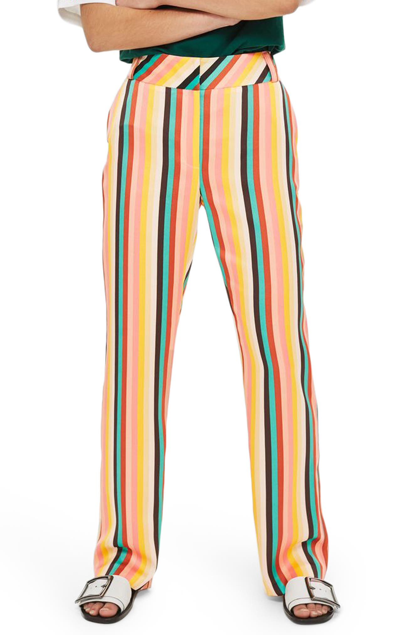 Rainbow Stripe Wide Leg Trousers,                             Main thumbnail 1, color,                             Yellow Multi