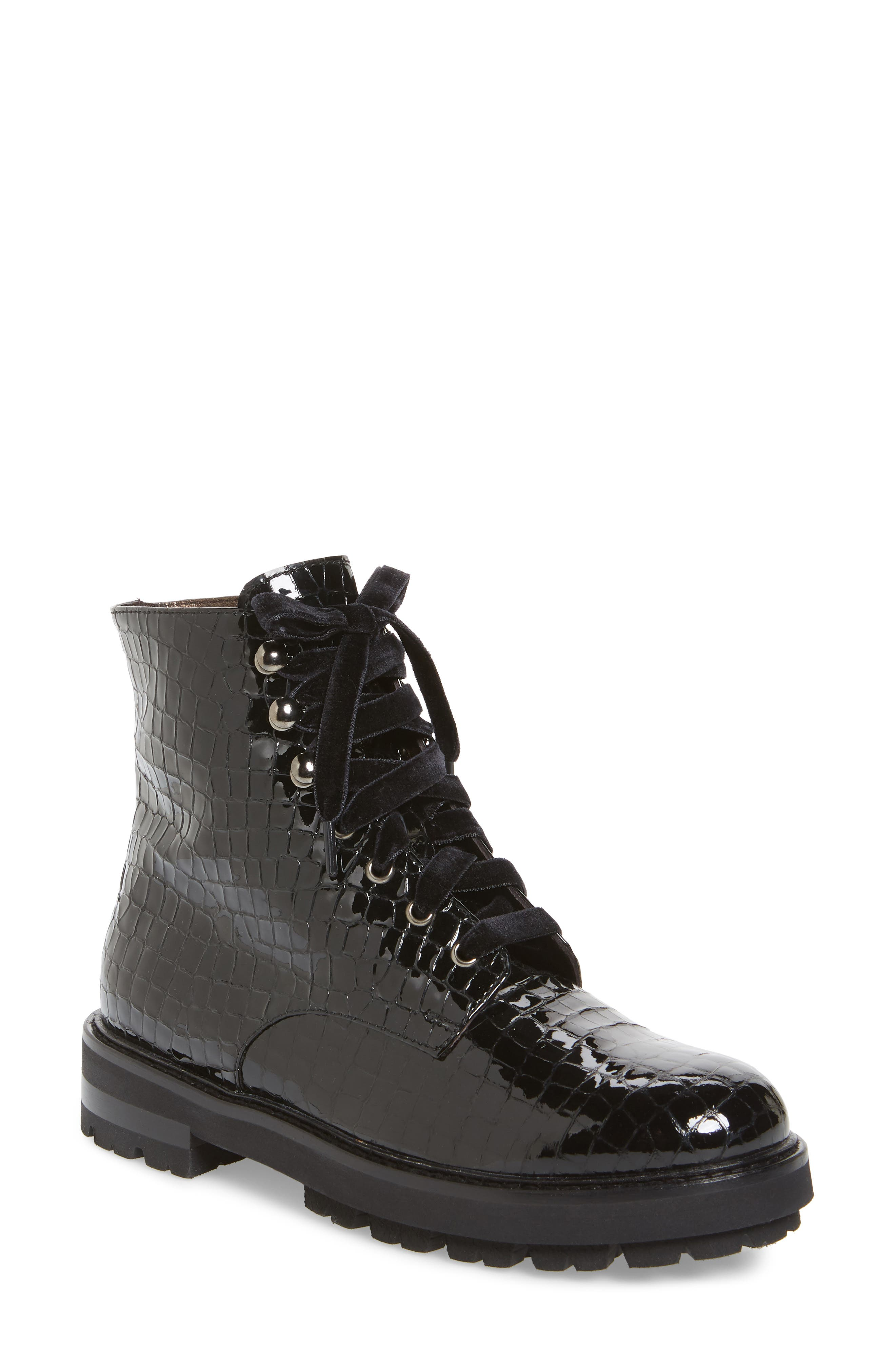 AGL ATTILIO GIUSTI LEOMBRUNI Combat Boot, Black Croc Leather