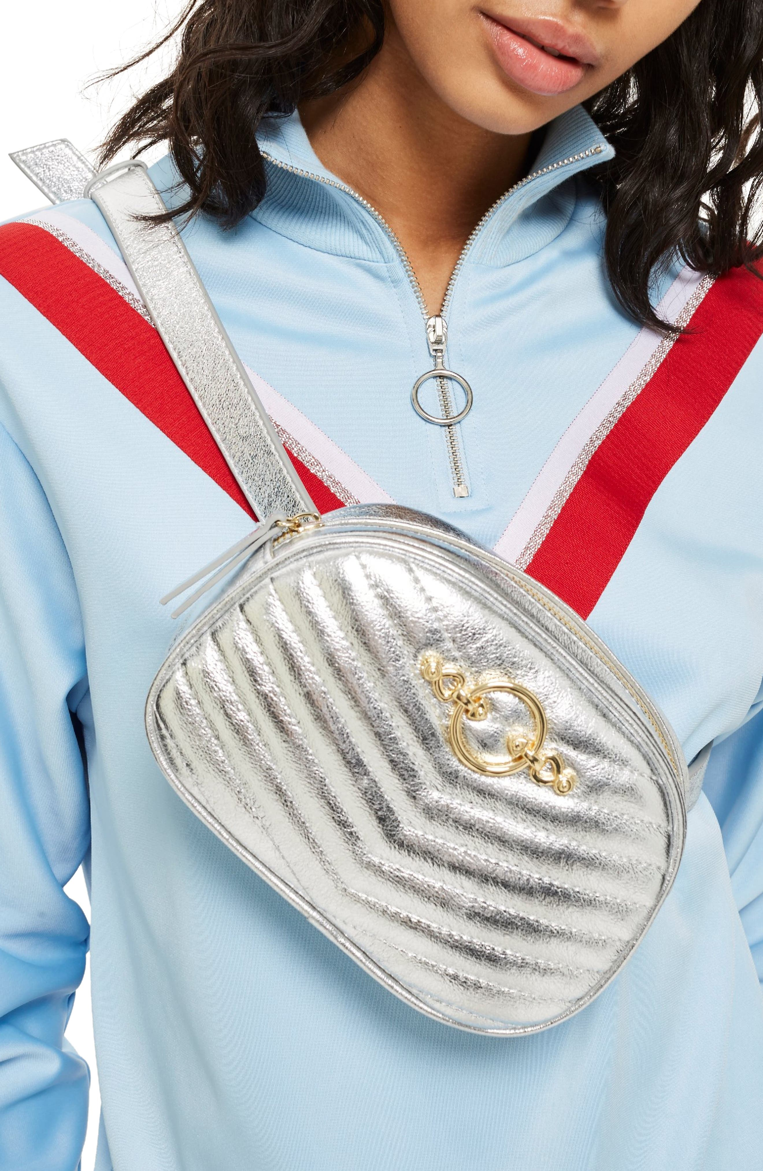 Queenie Quilted Bumbag,                             Alternate thumbnail 6, color,                             Silver Multi