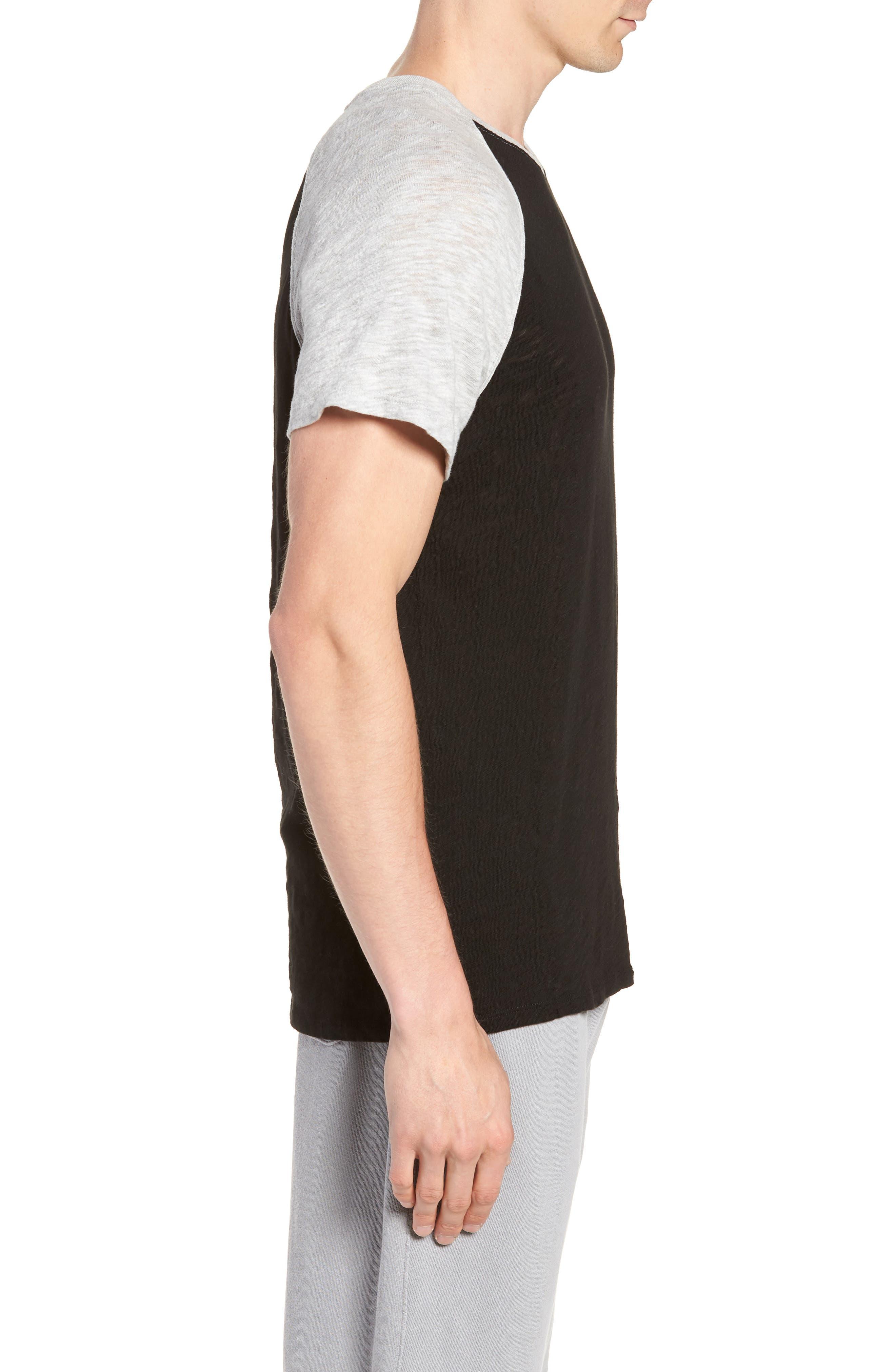 Slub Jersey Baseball T-Shirt,                             Alternate thumbnail 5, color,                             Black/ Heather Grey Combo