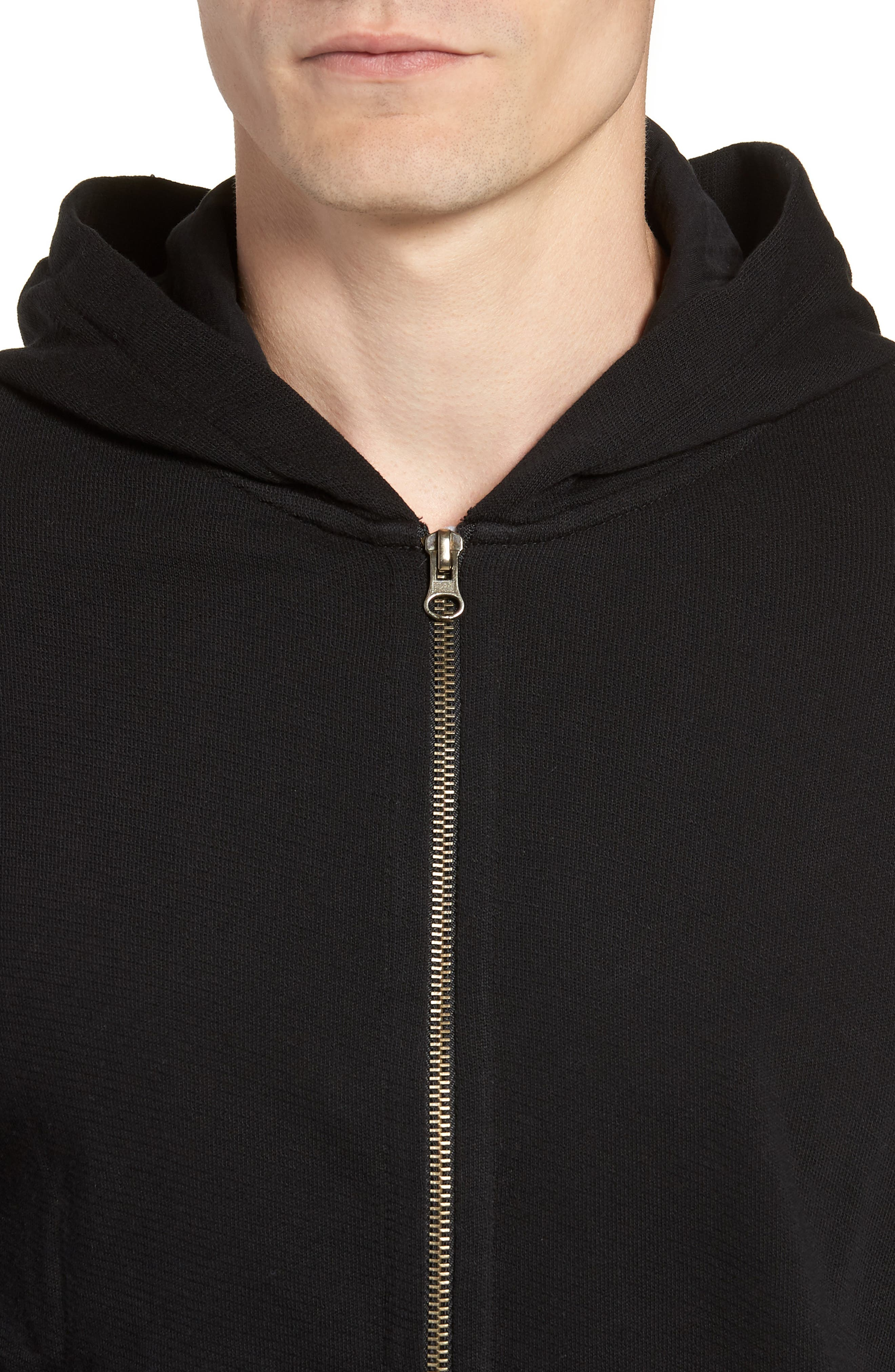 French Terry Zip Hoodie,                             Alternate thumbnail 3, color,                             Black