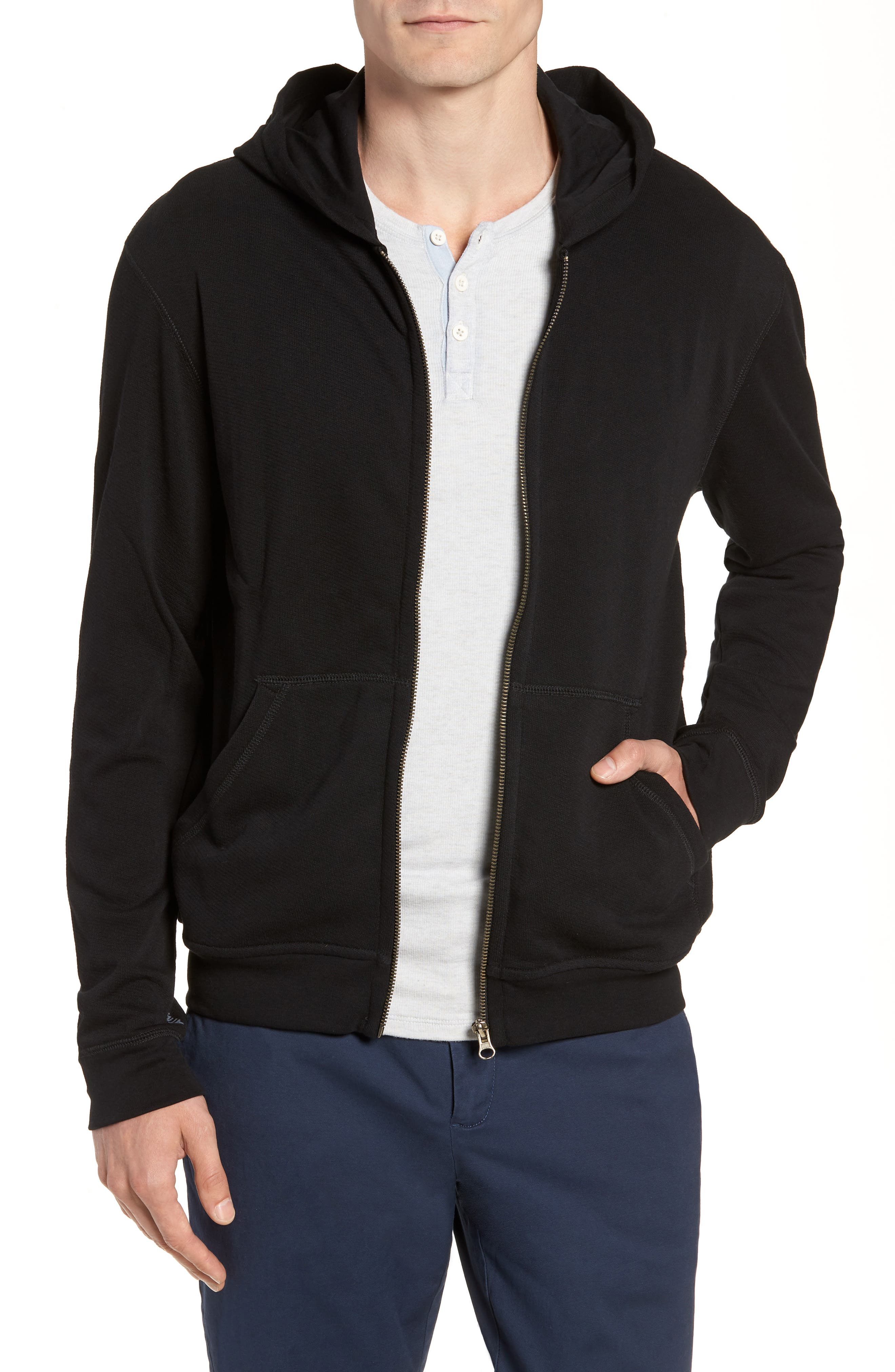 French Terry Zip Hoodie,                         Main,                         color, Black