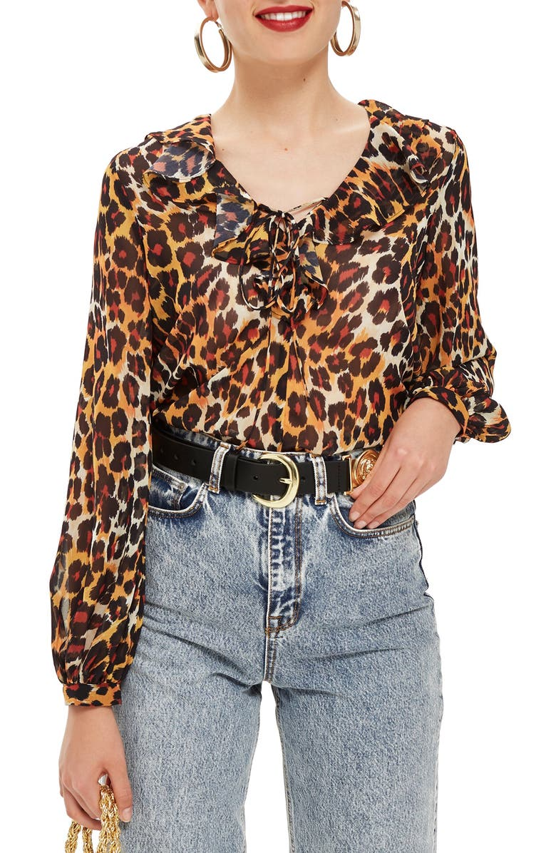 Leopard Print Ruffle Blouse | Nordstrom