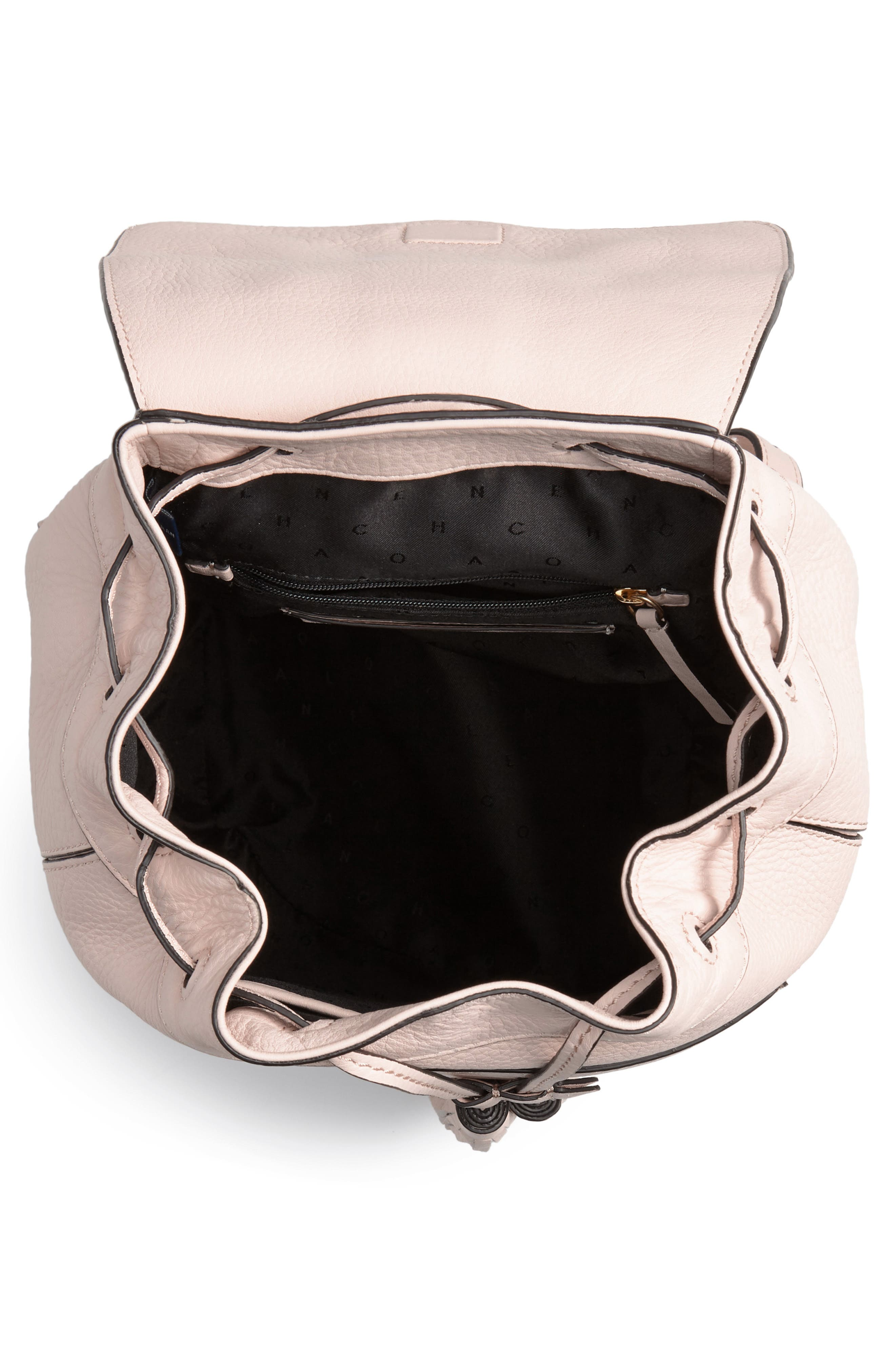 Cassidy RFID Pebbled Leather Backpack,                             Alternate thumbnail 6, color,                             Peach Blush