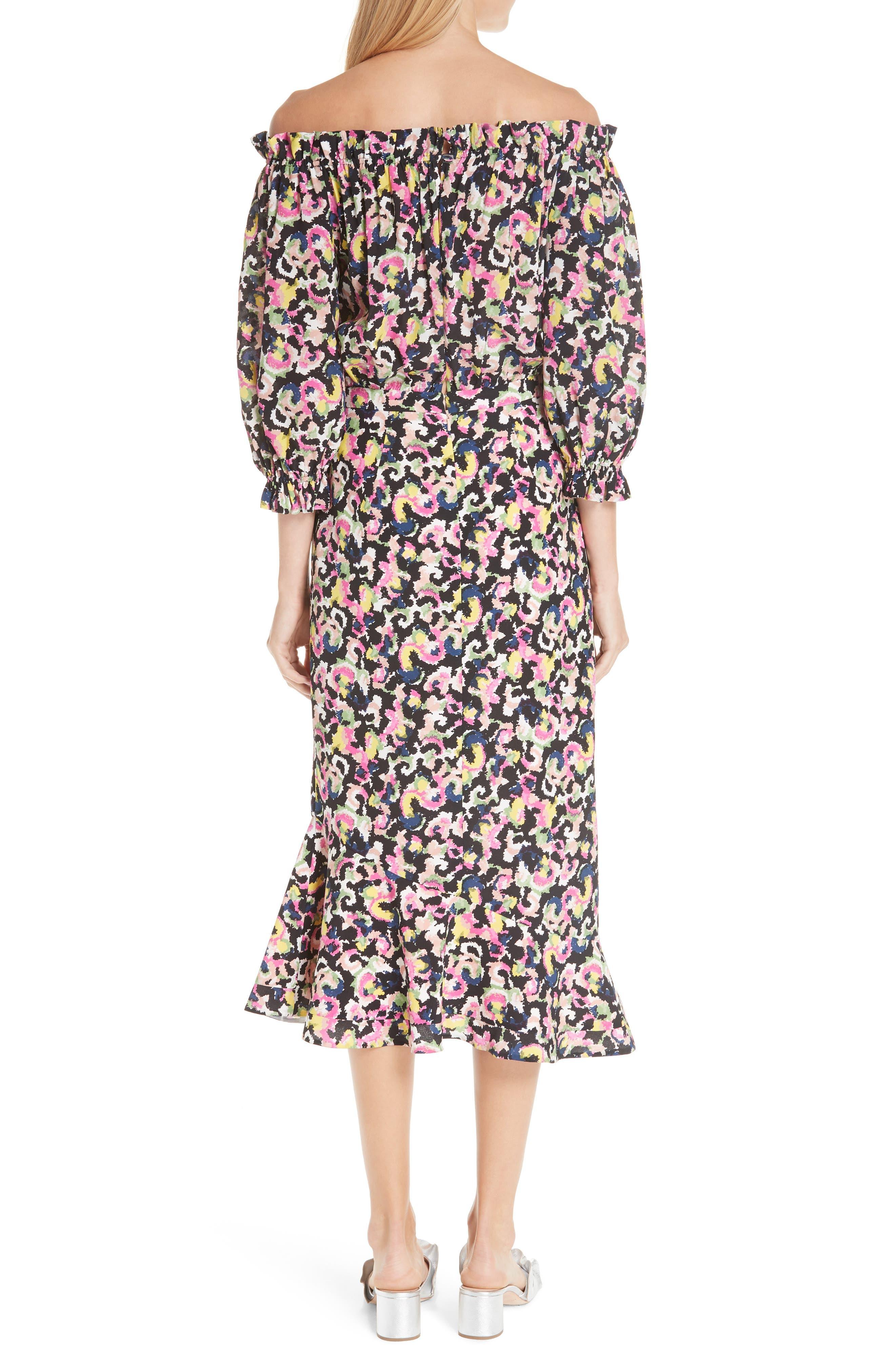 Grace Print Silk Off the Shoulder Dress,                             Alternate thumbnail 2, color,                             Hothouse Mirage