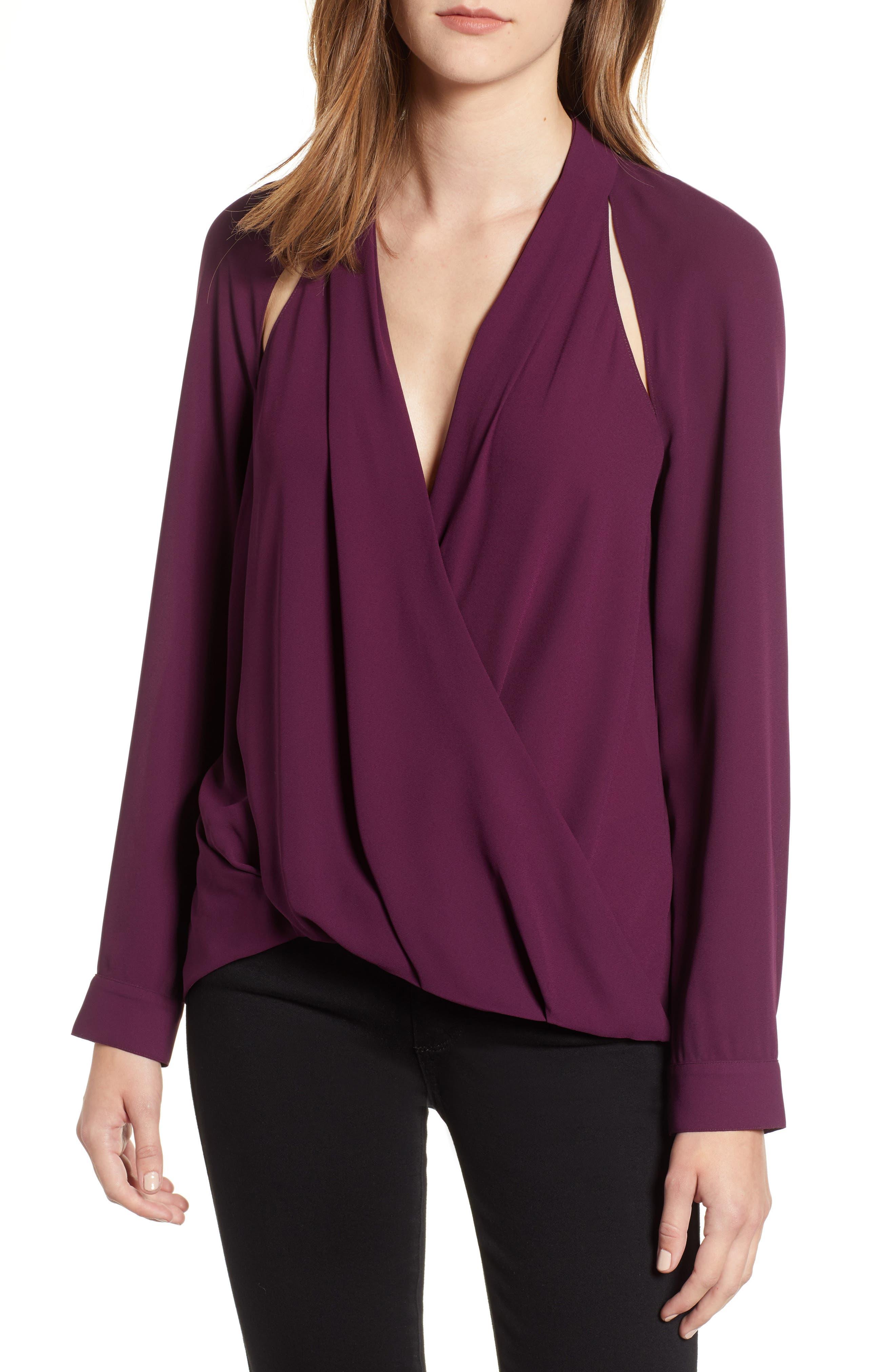 Cutout Surplice Top,                         Main,                         color, Purple Potent