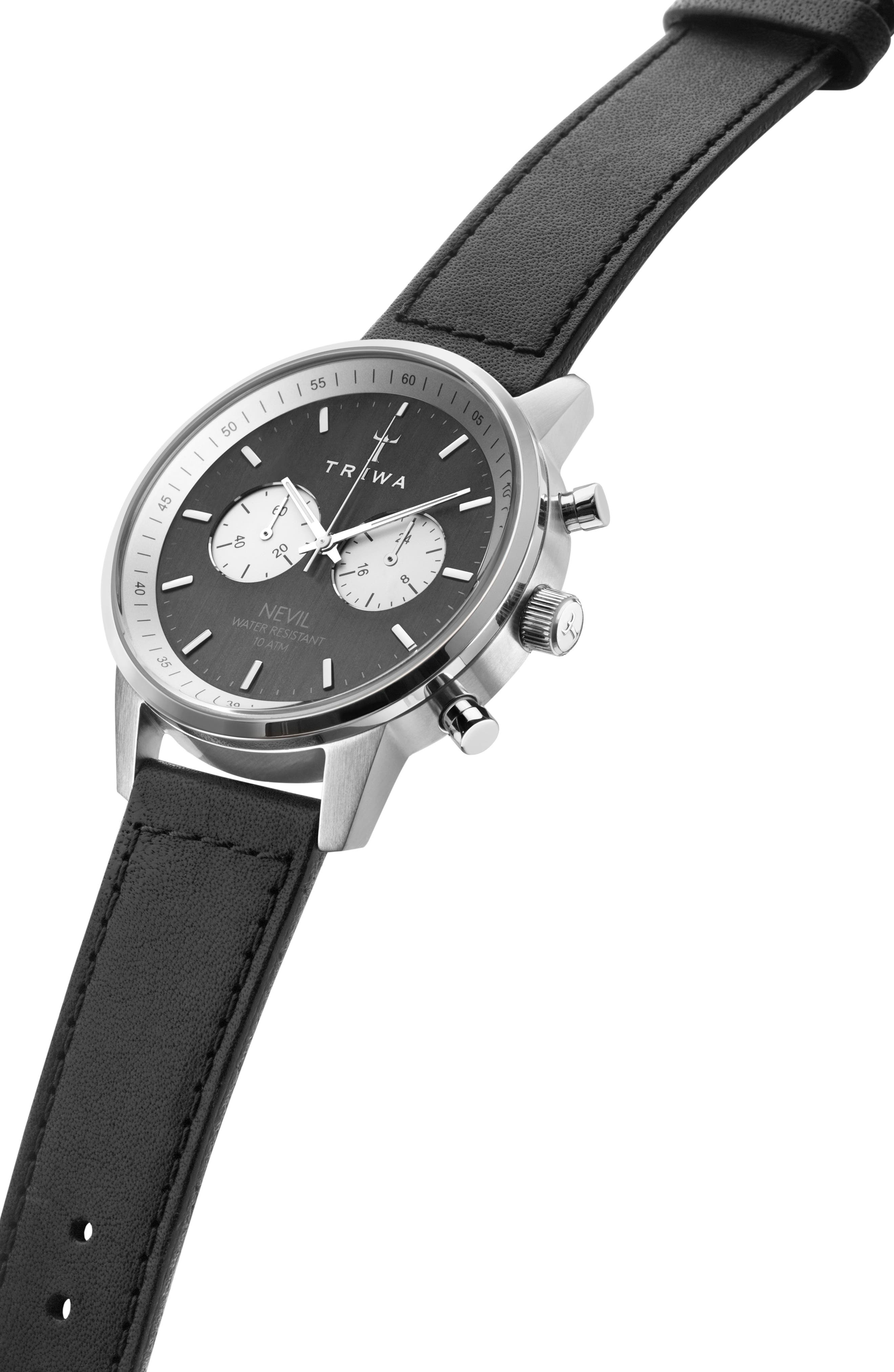 Slate Nevil Leather Strap Watch, 42mm,                             Alternate thumbnail 2, color,                             Black/ Grey/ Silver