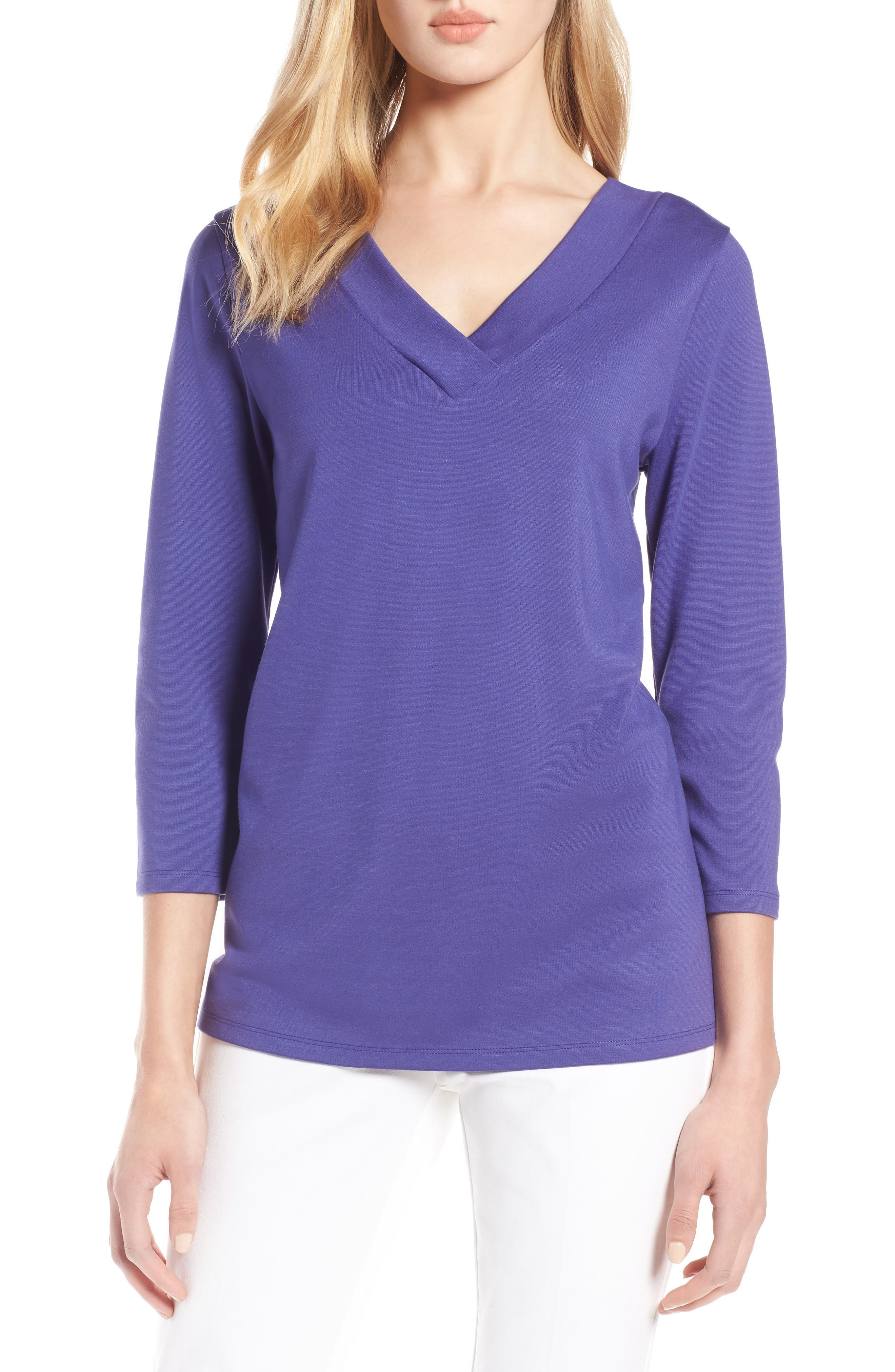 V-Neck Tee,                             Main thumbnail 1, color,                             Purple Orient