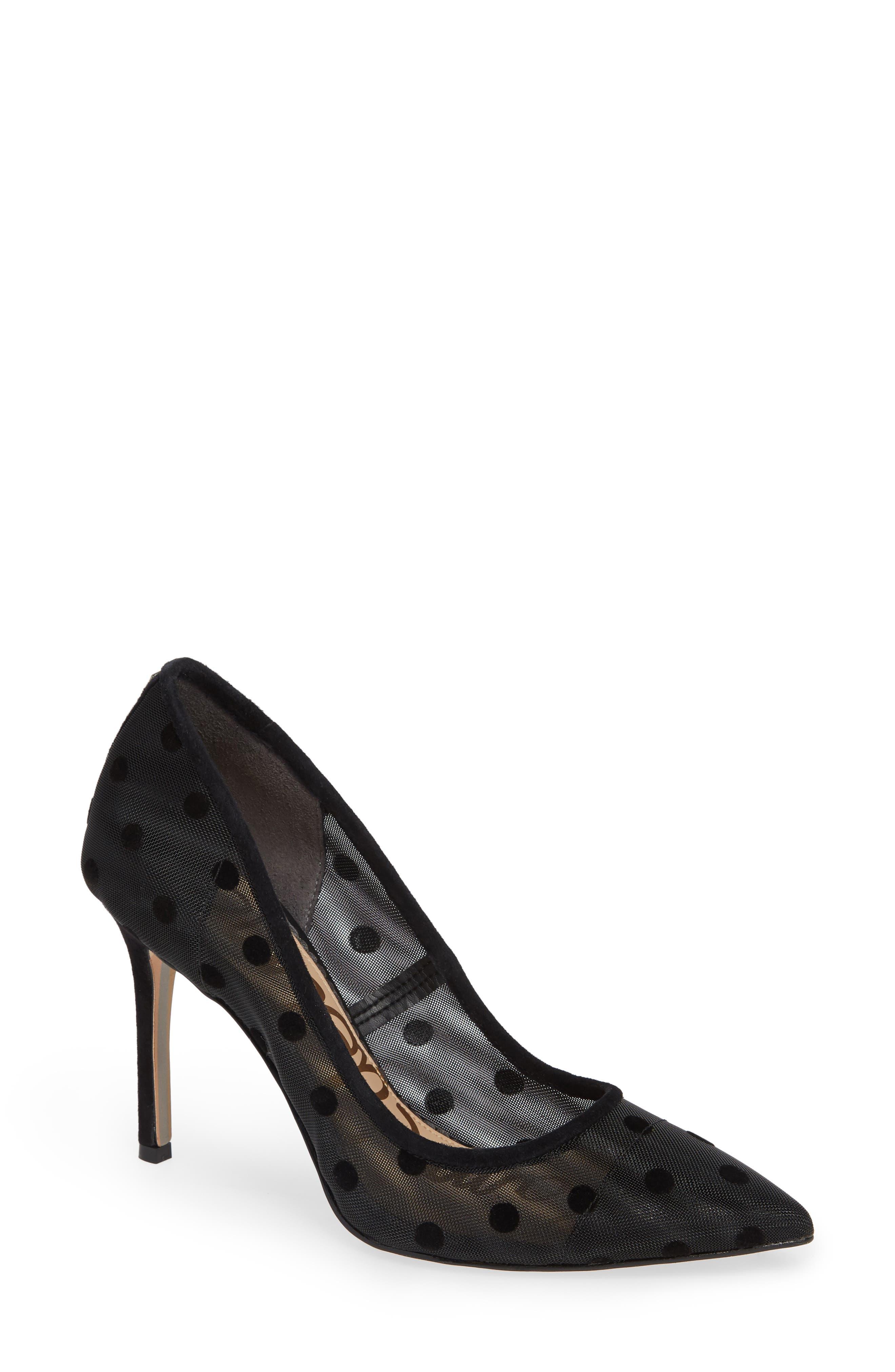 Hazel Pointy Toe Pump,                         Main,                         color, Black Dotted Mesh