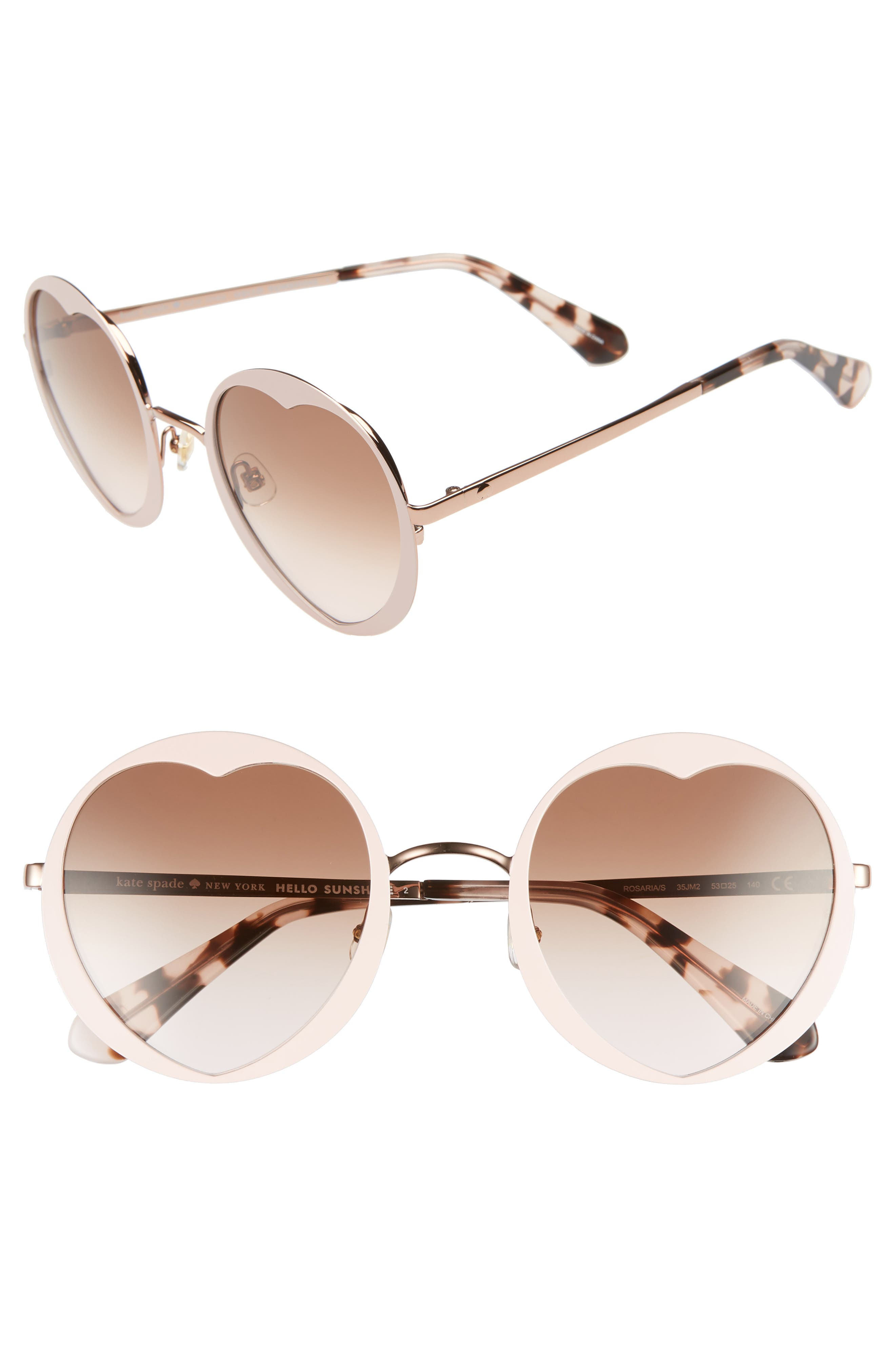 rosaria 53mm heart cutout lens sunglasses,                         Main,                         color, Pink/ Havana