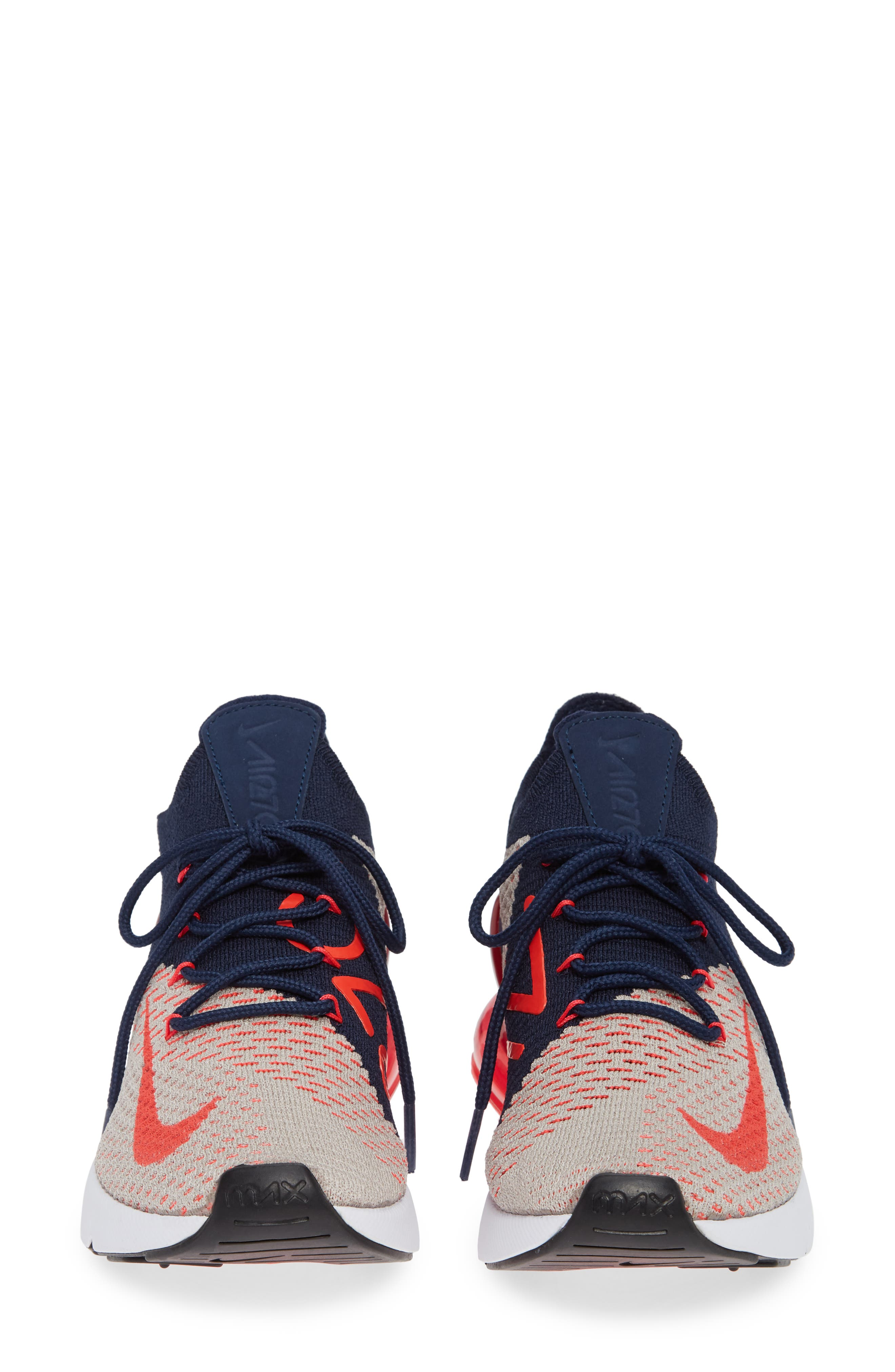 Air Max 270 Flyknit Sneaker,                             Alternate thumbnail 4, color,                             Moon Particle/ Red Orbit/ Navy