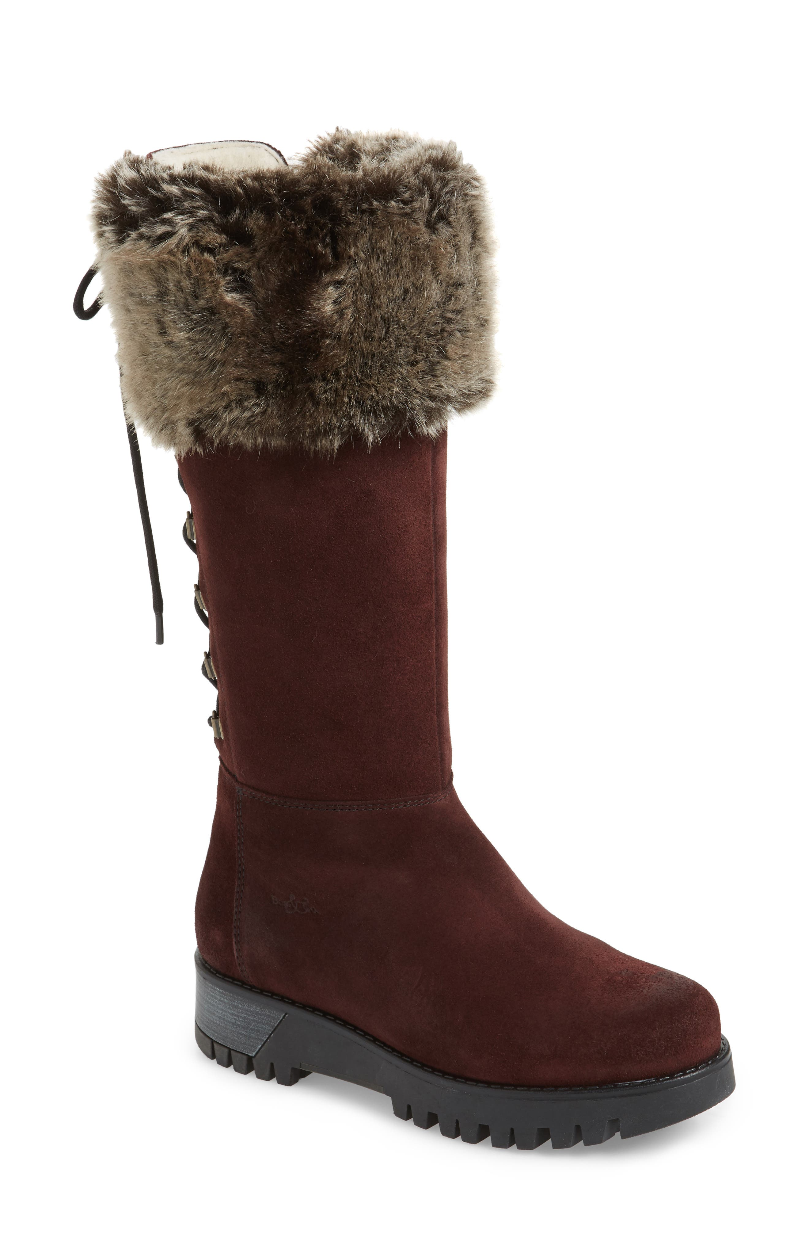 Graham Waterproof Winter Boot with Faux Fur Cuff,                             Main thumbnail 1, color,                             Wine Suede