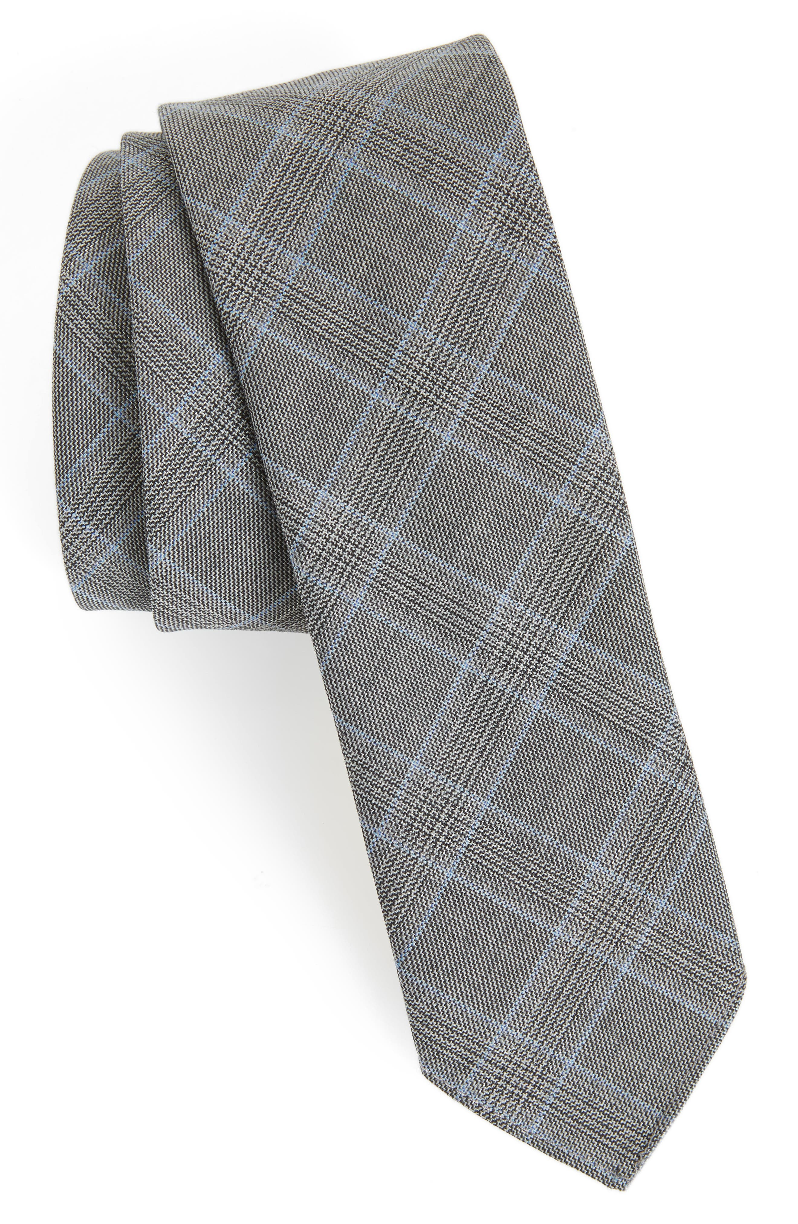 Plaid Wool Tie,                             Main thumbnail 1, color,                             Open Grey