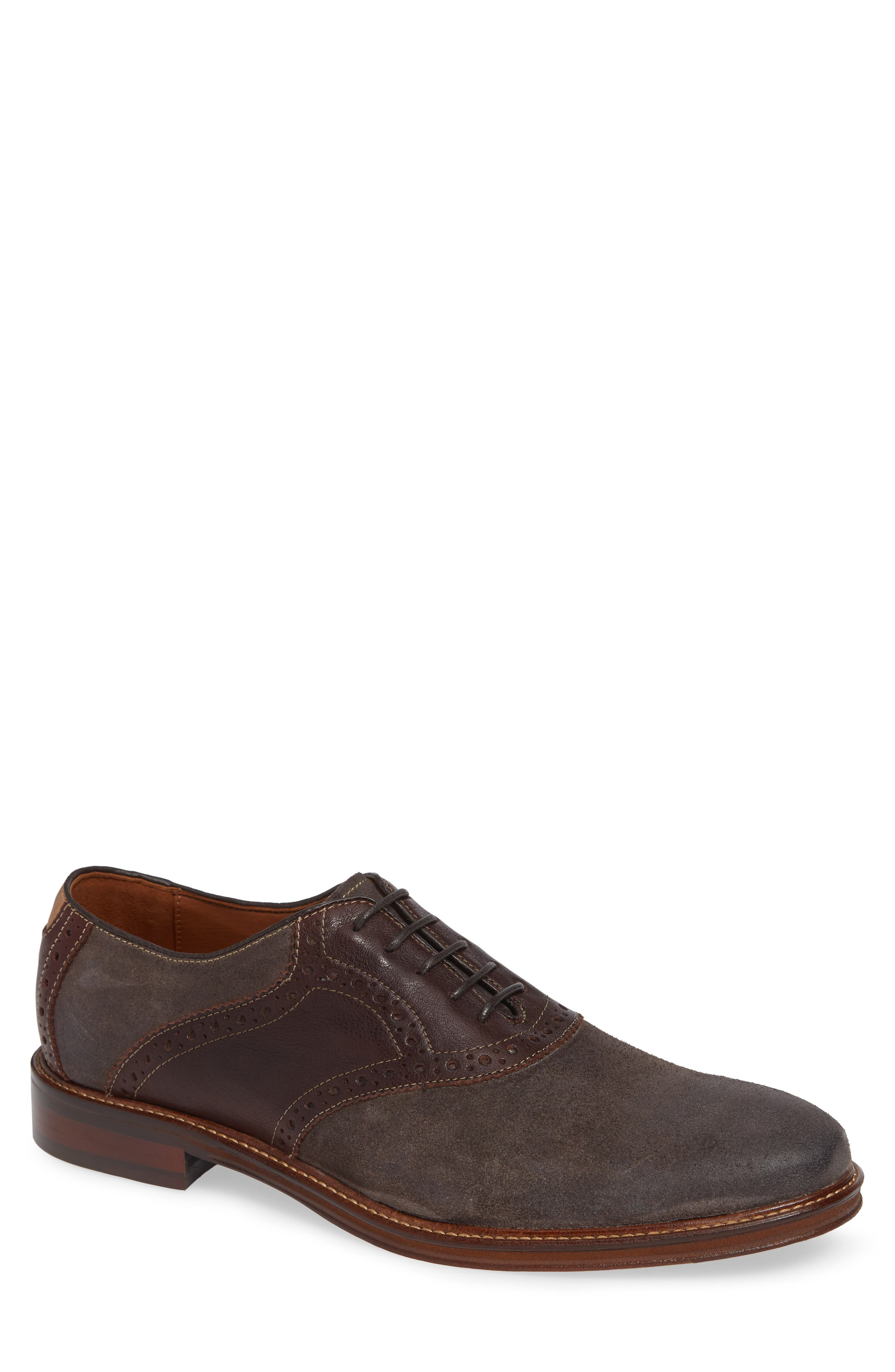 Warner Saddle Shoe,                             Main thumbnail 1, color,                             Dark Grey Suede