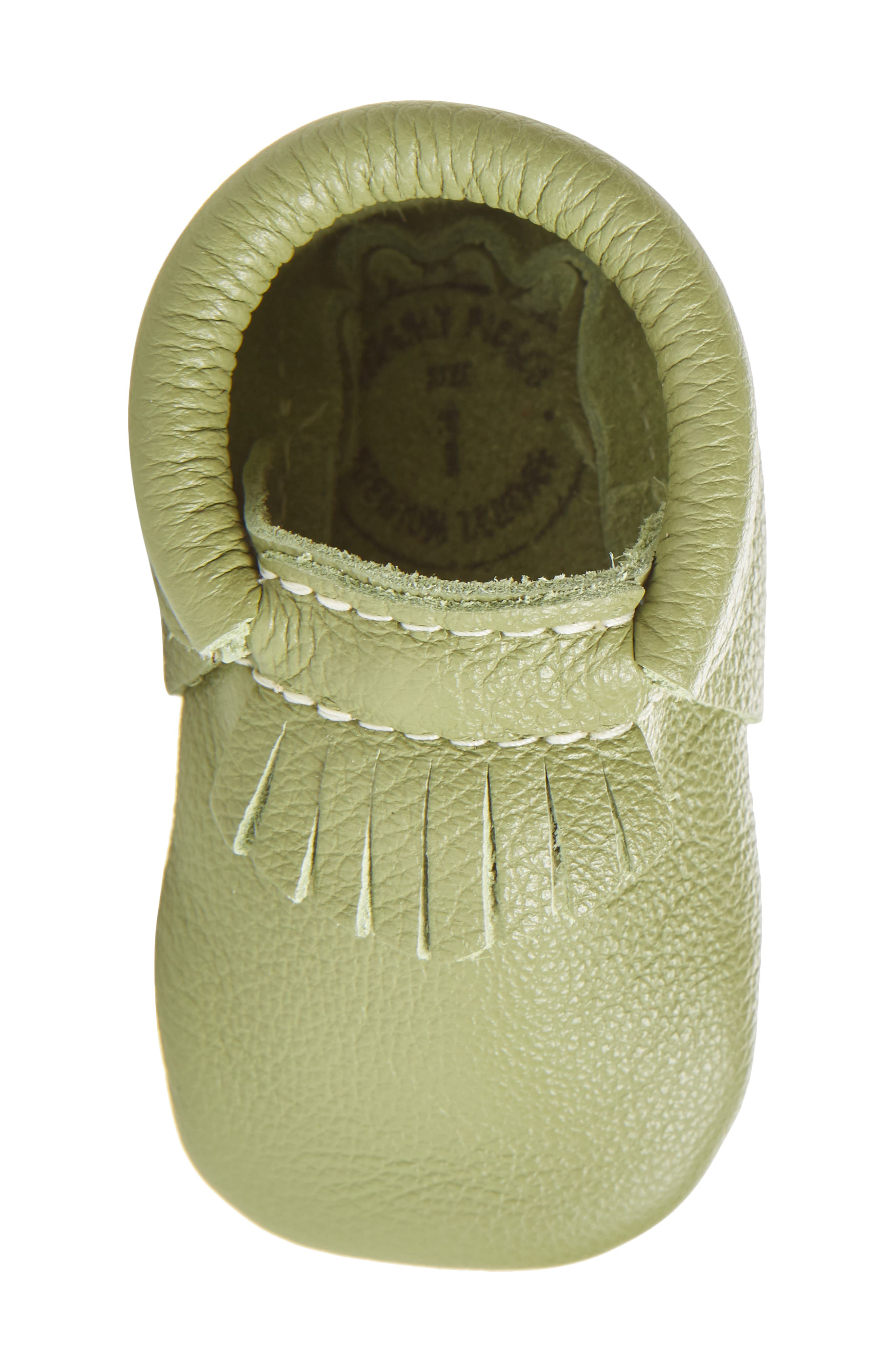 Leather Moccasin,                             Alternate thumbnail 4, color,                             Green Leather