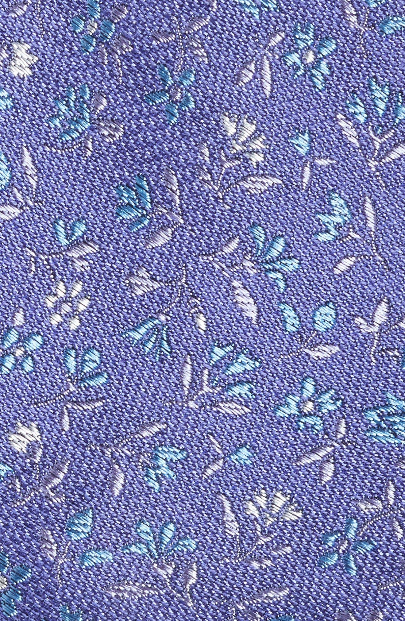 Flower Fields Silk & Cotton Tie,                             Alternate thumbnail 2, color,                             Purple