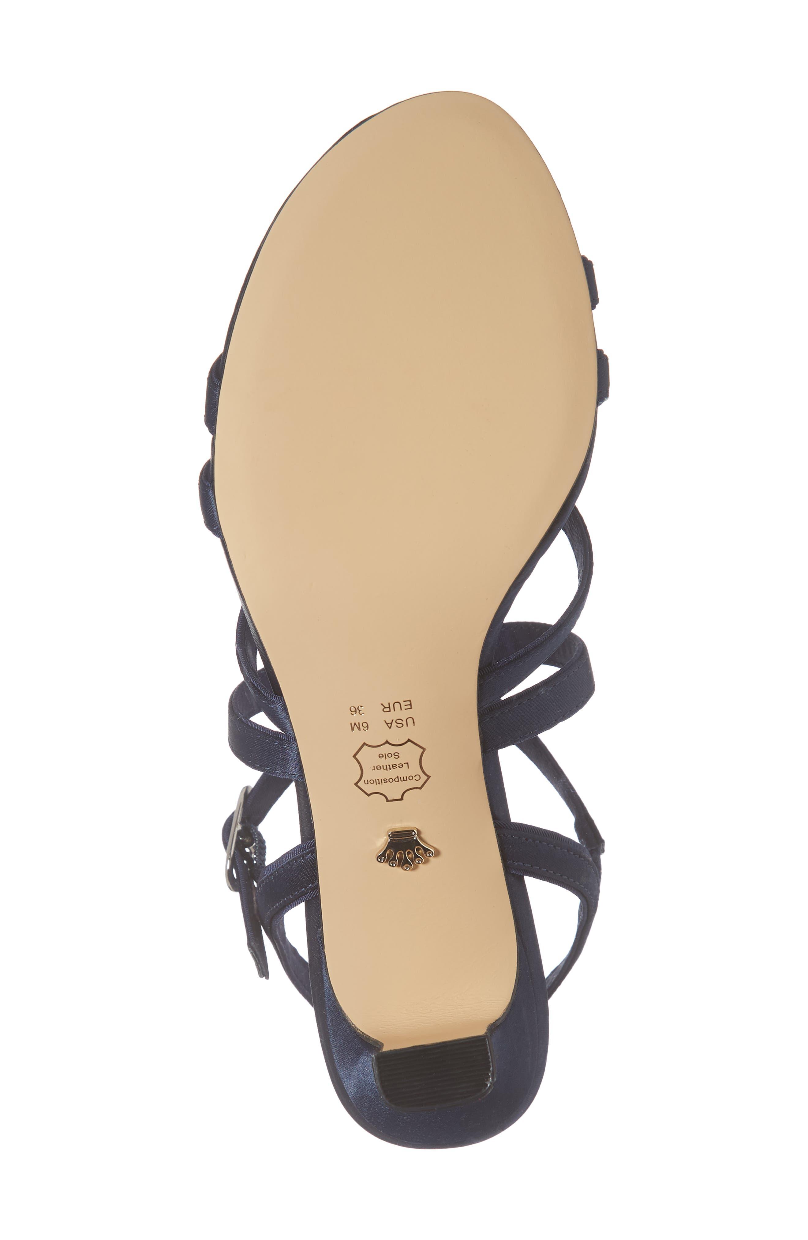 Genaya Strappy Evening Sandal,                             Alternate thumbnail 3, color,                             Navy Satin