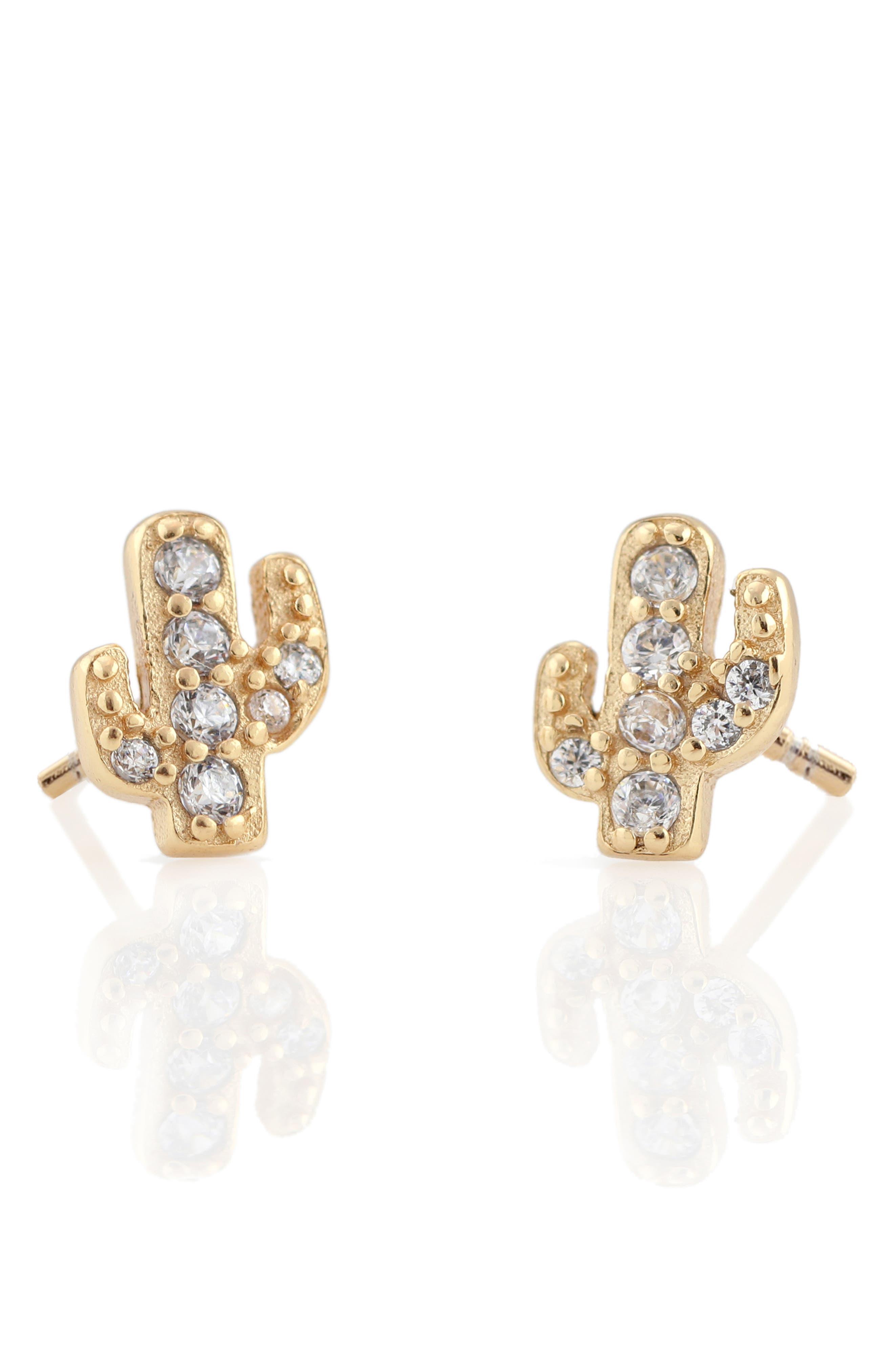 Pavé Cactus Stud Earrings,                             Main thumbnail 1, color,                             Gold