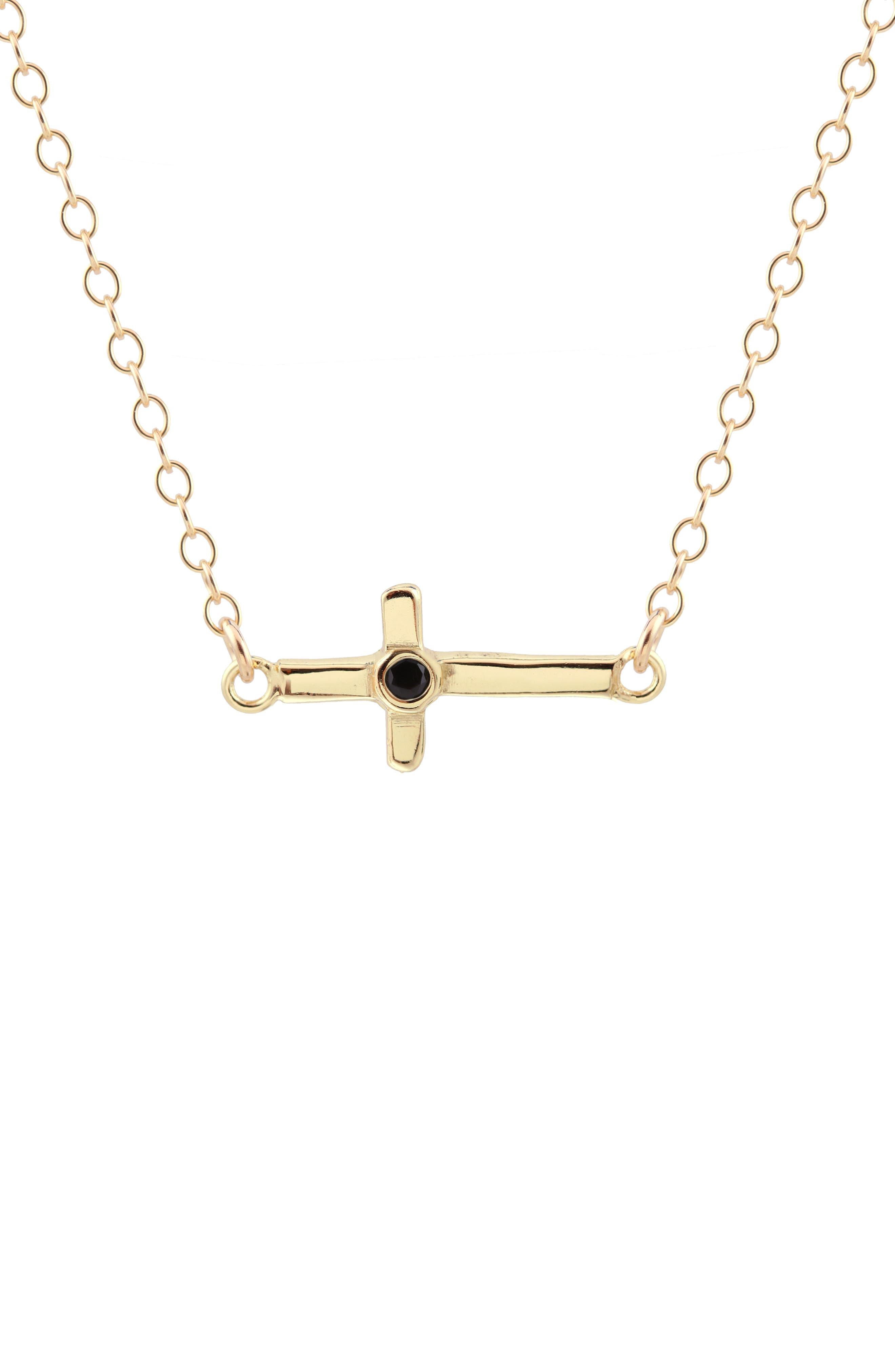 Stone Cross Charm Necklace,                             Main thumbnail 1, color,                             Gold Black