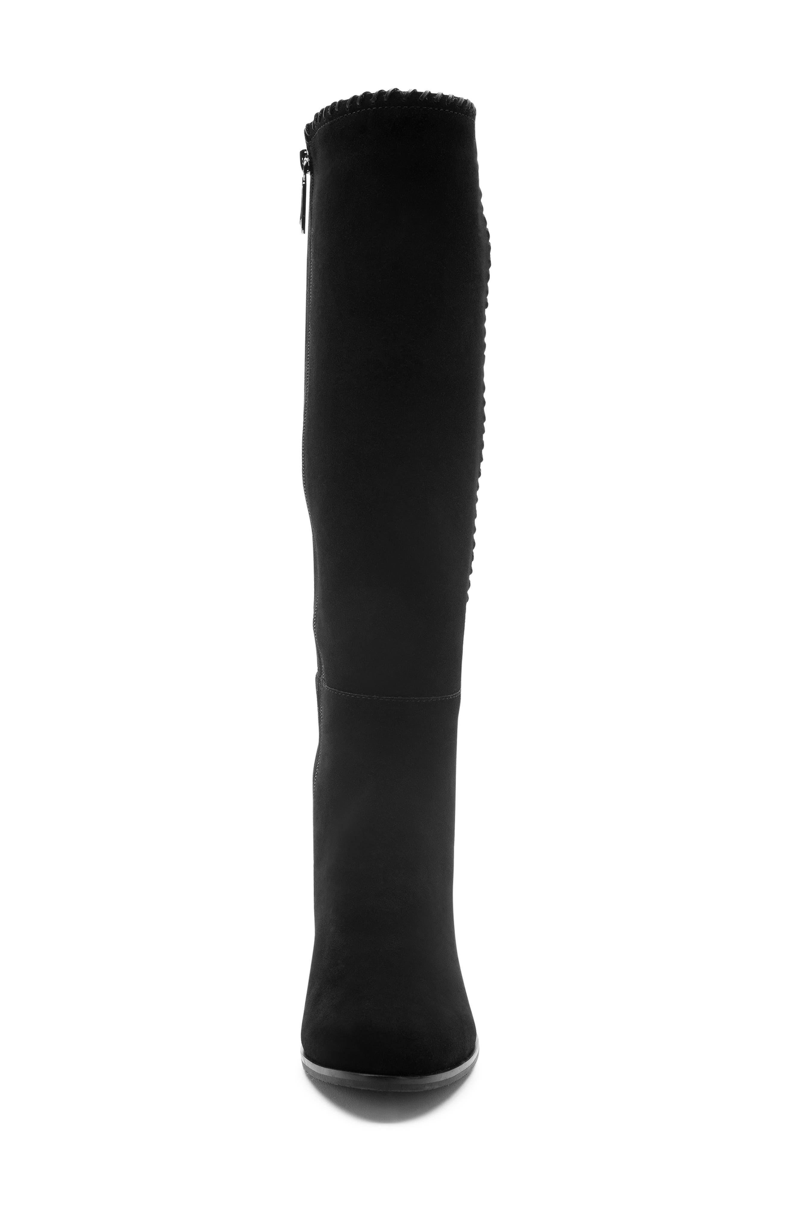 Edith Knee-High Waterproof Suede Boot,                             Alternate thumbnail 6, color,                             Black Suede