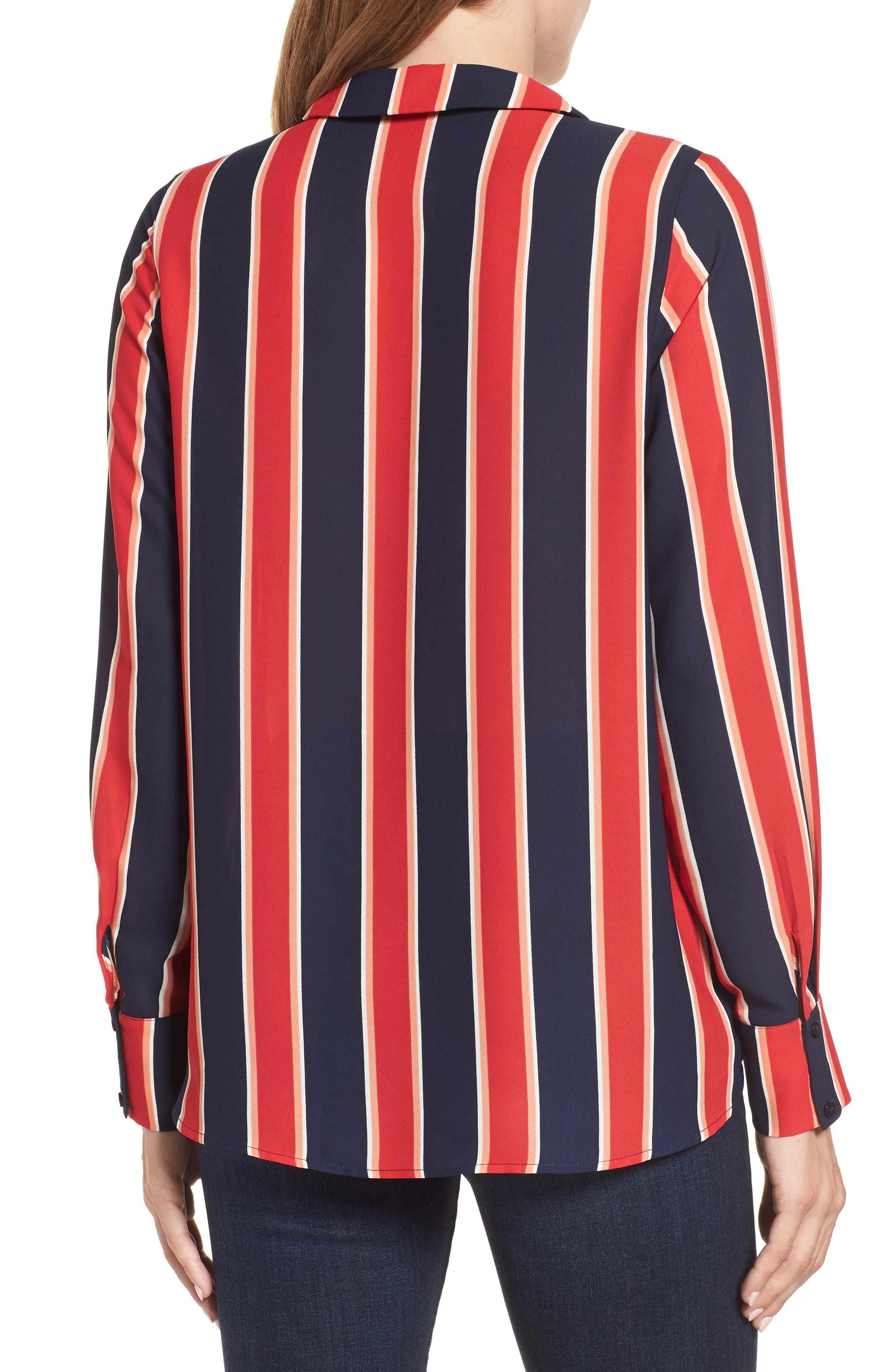 Surplice Drape Front Blouse,                             Alternate thumbnail 2, color,                             Blue/ White/ Red Stripe