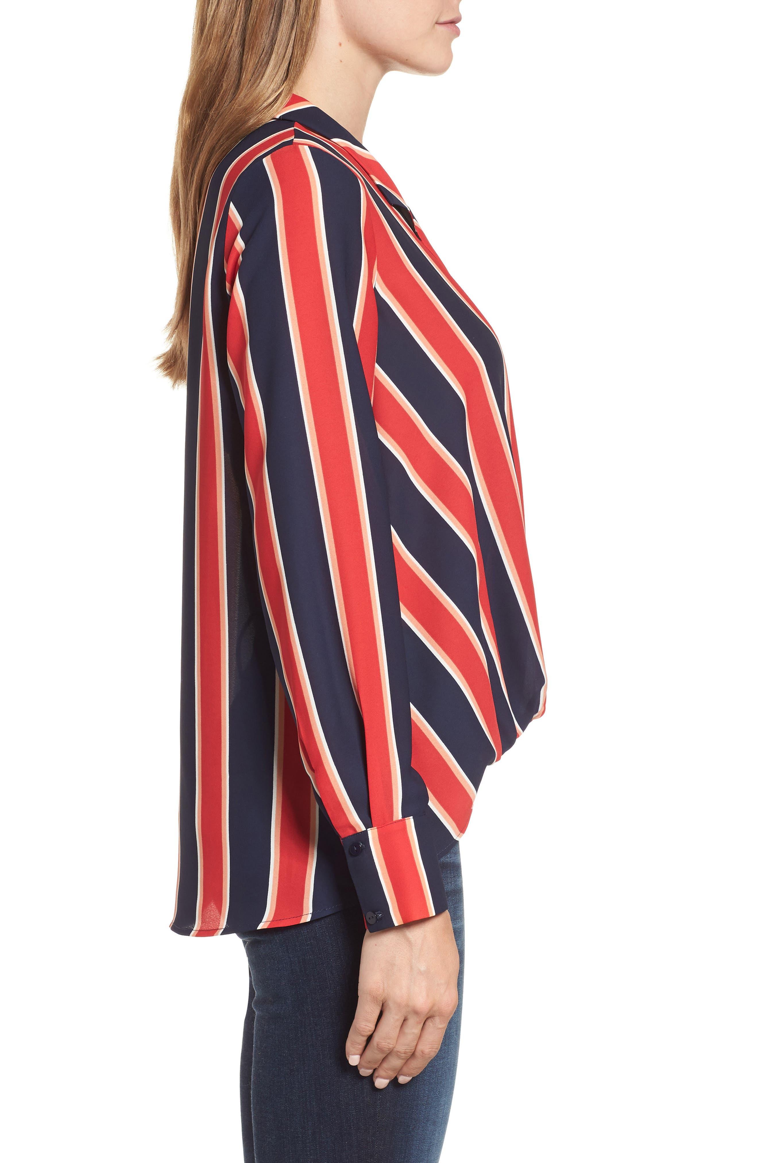 Surplice Drape Front Blouse,                             Alternate thumbnail 3, color,                             Blue/ White/ Red Stripe