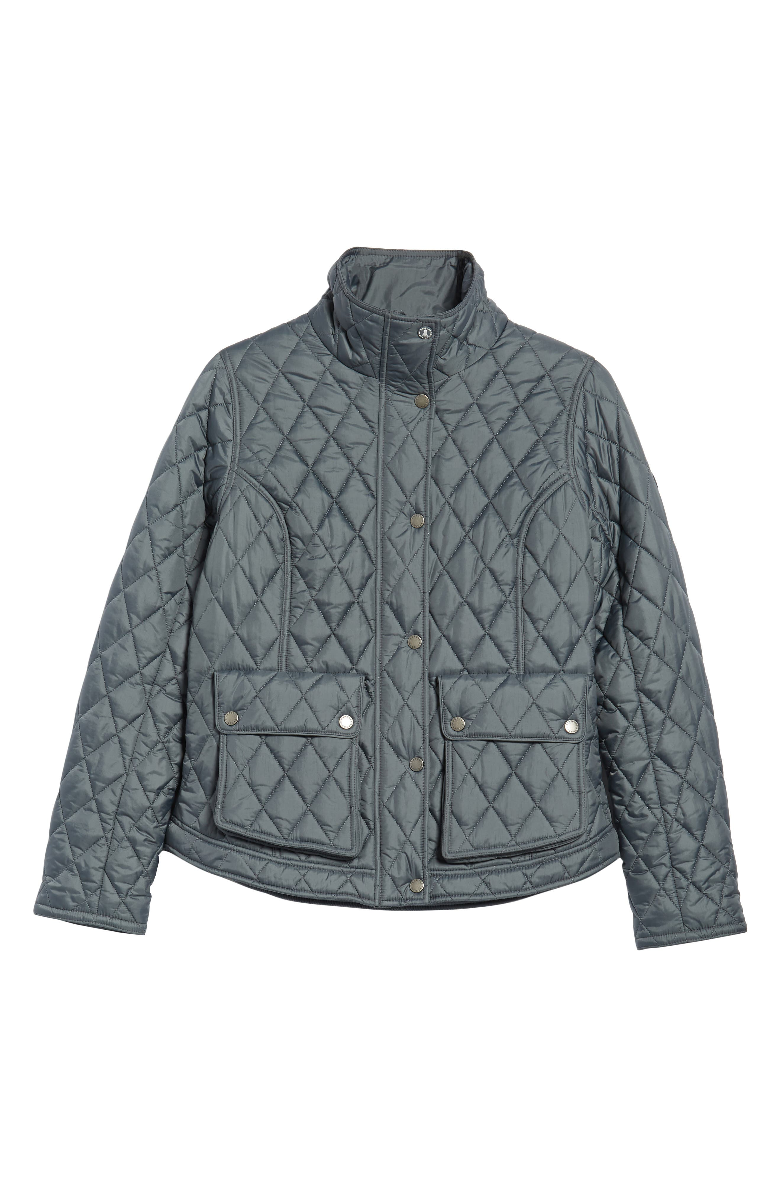 Fairway Quilted Jacket,                             Alternate thumbnail 6, color,                             Washed Charcoal