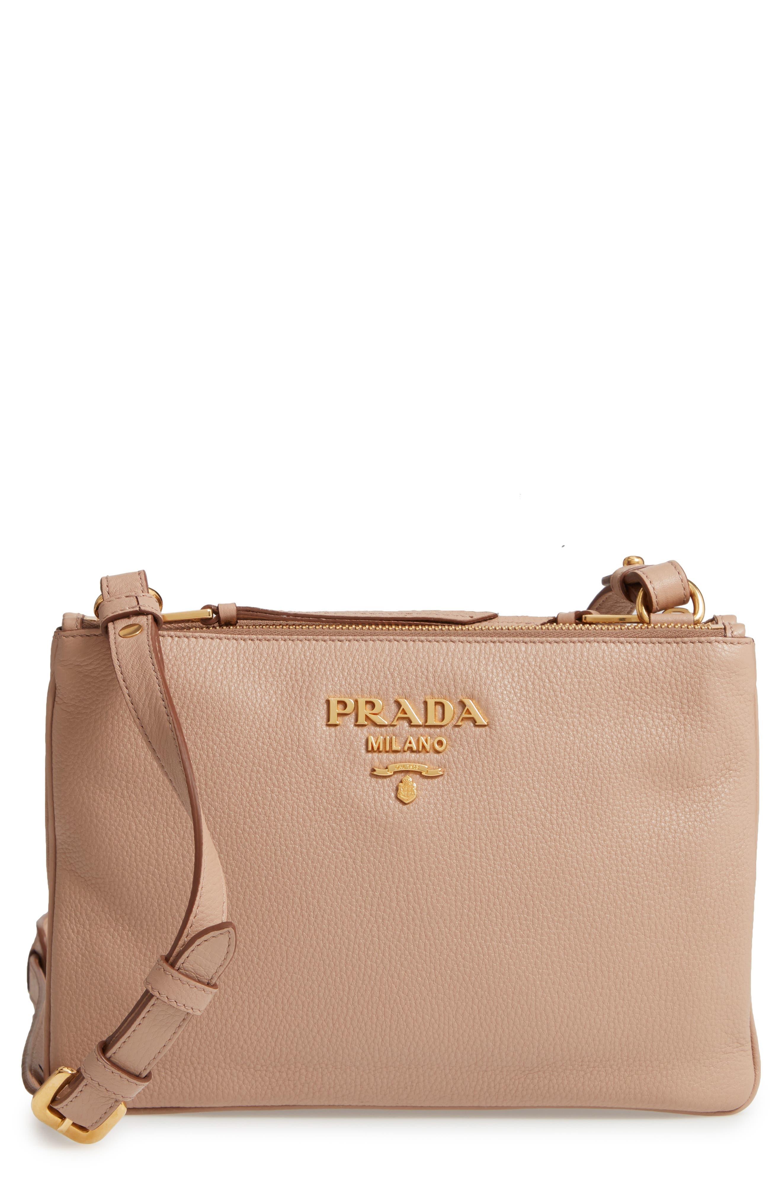 d3f637de7b92cb australia prada vitello daino double compartment leather crossbody bag  843f9 59360