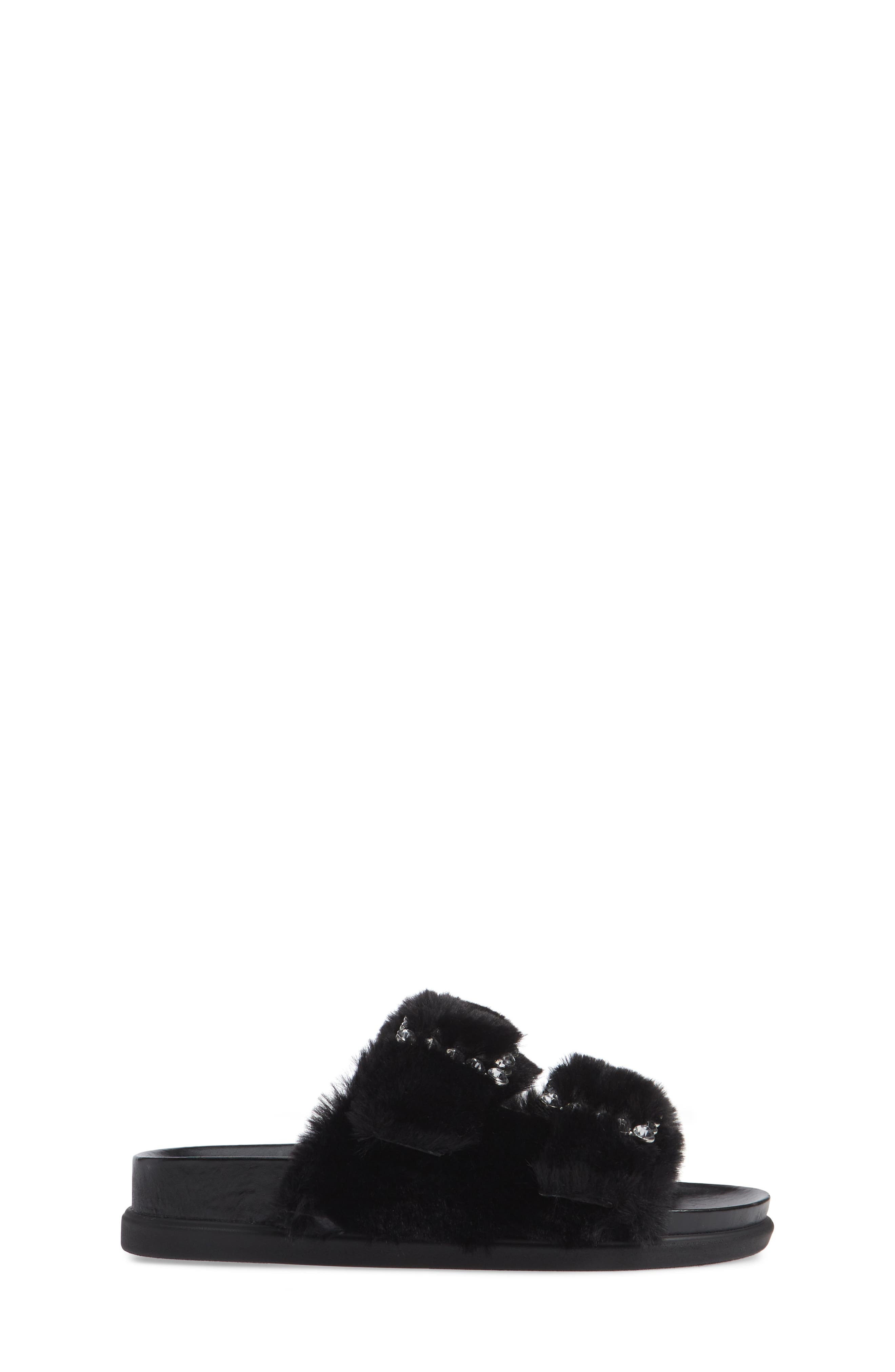 Faux Fur Slide Sandal,                             Alternate thumbnail 6, color,                             Black