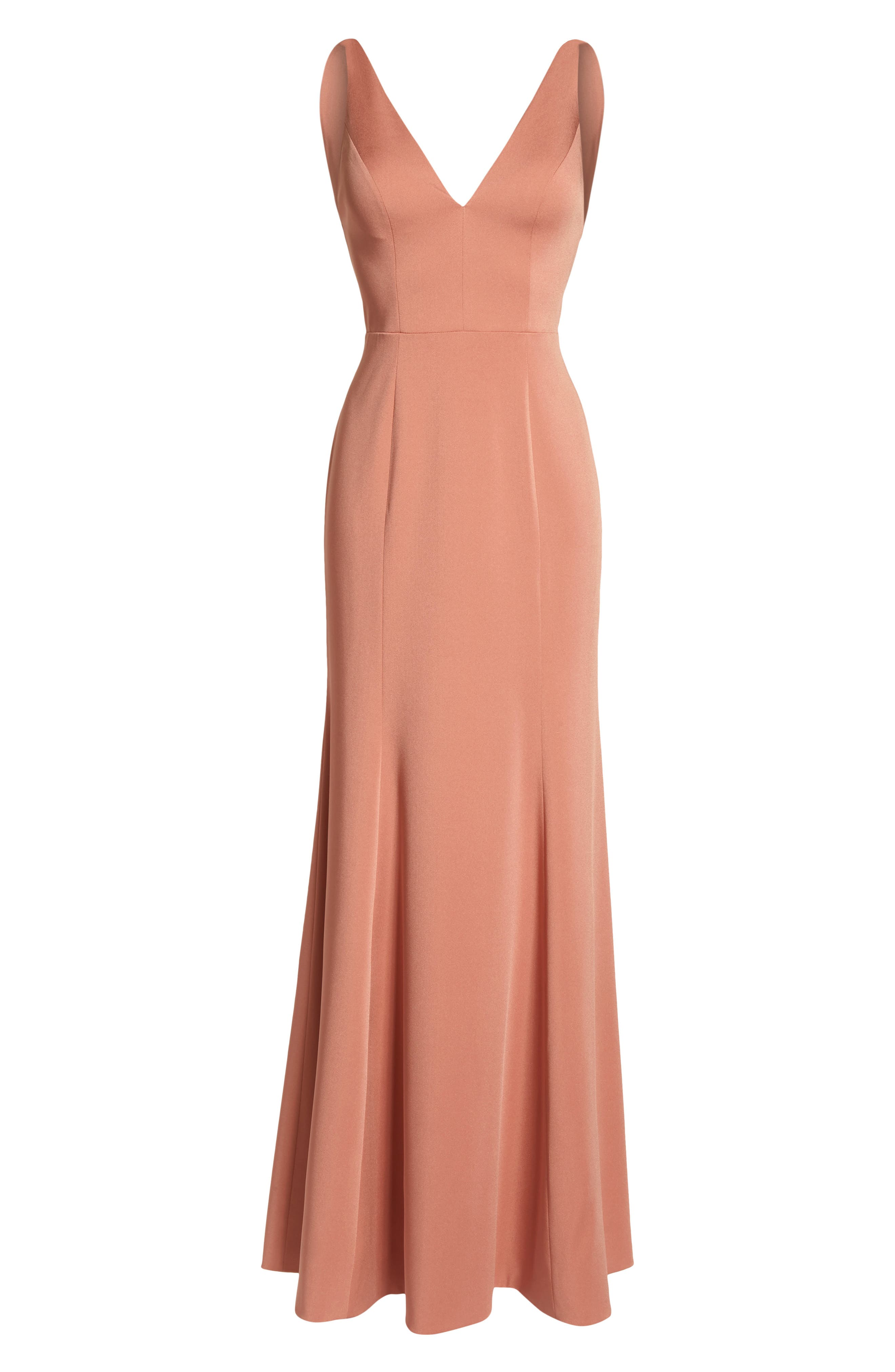 Jade Luxe Crepe V-Neck Gown,                             Alternate thumbnail 6, color,                             Sedona Sunset