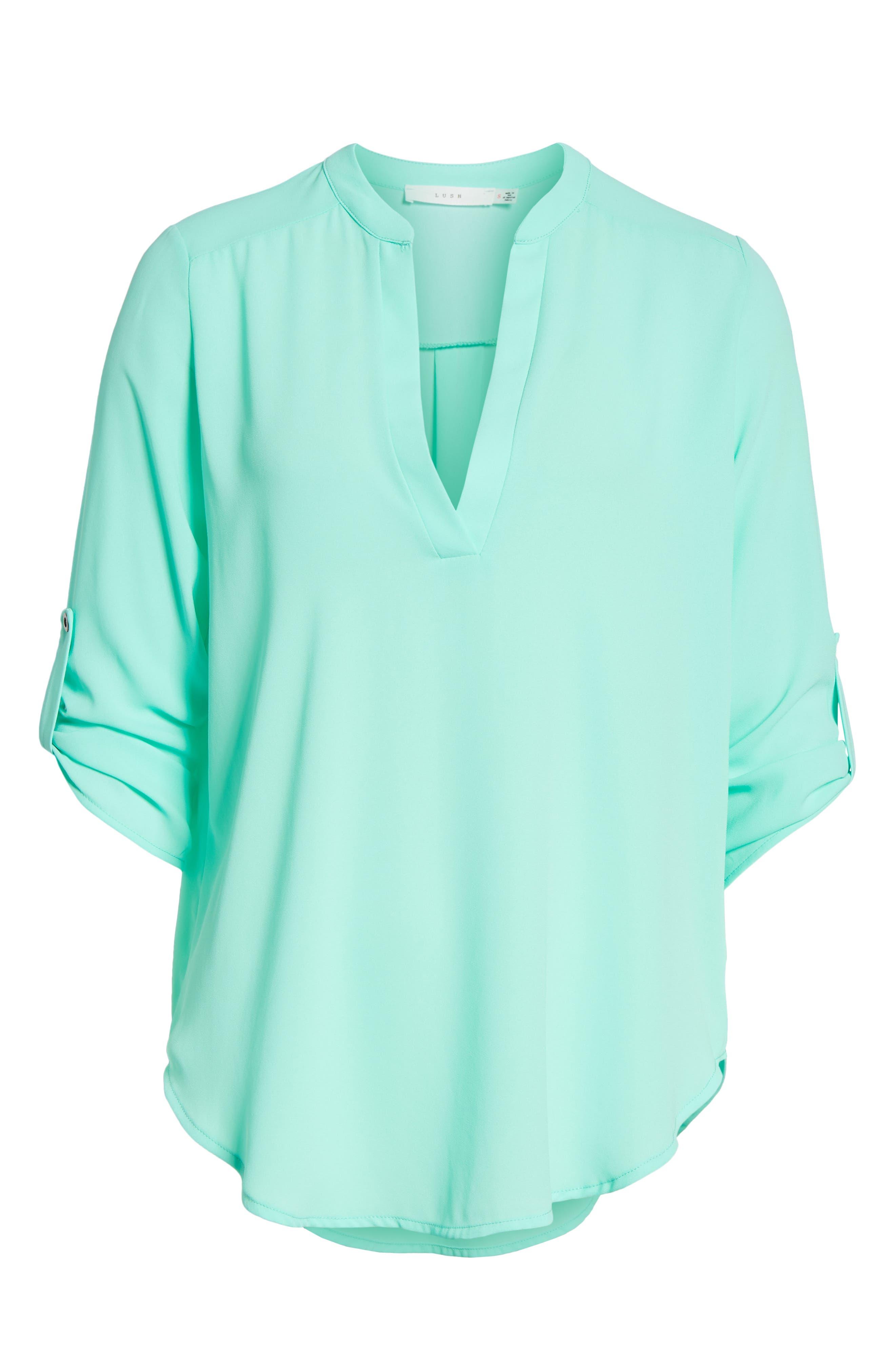 Roll Tab Sleeve Woven Shirt,                             Main thumbnail 1, color,                             Mint Green