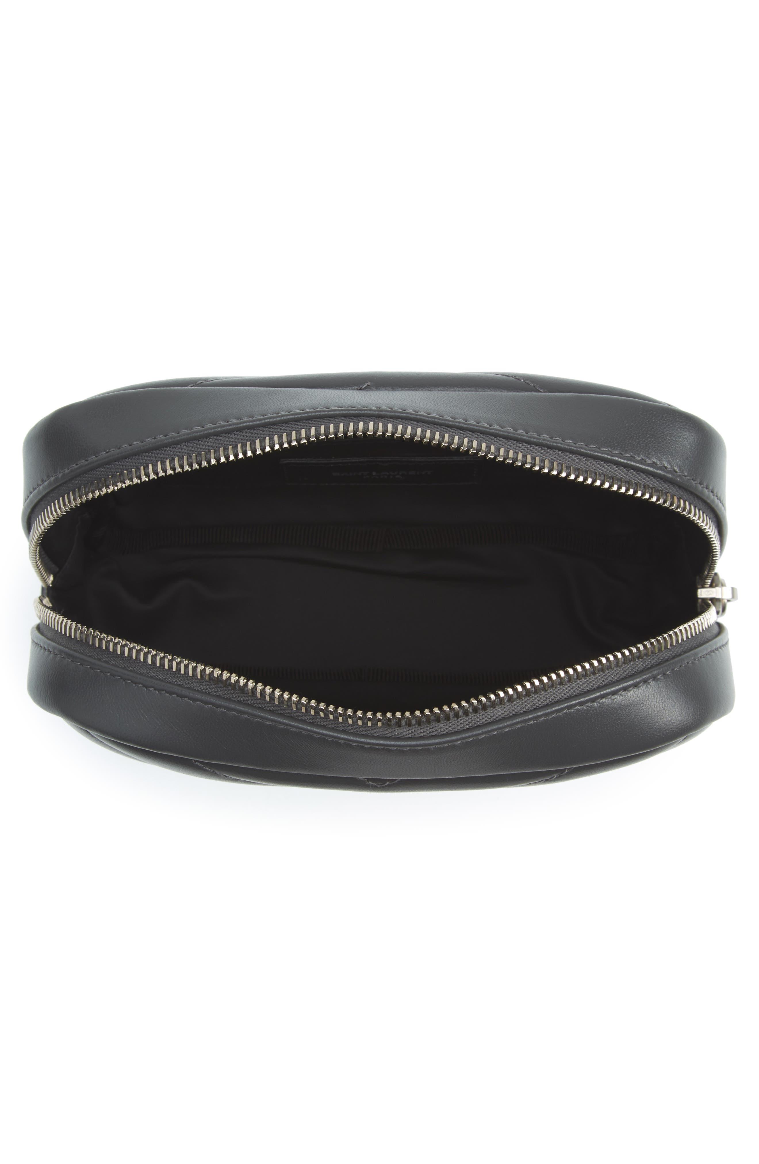 Loulou Matelassé Leather Cosmetics Bag,                             Alternate thumbnail 5, color,                             Storm
